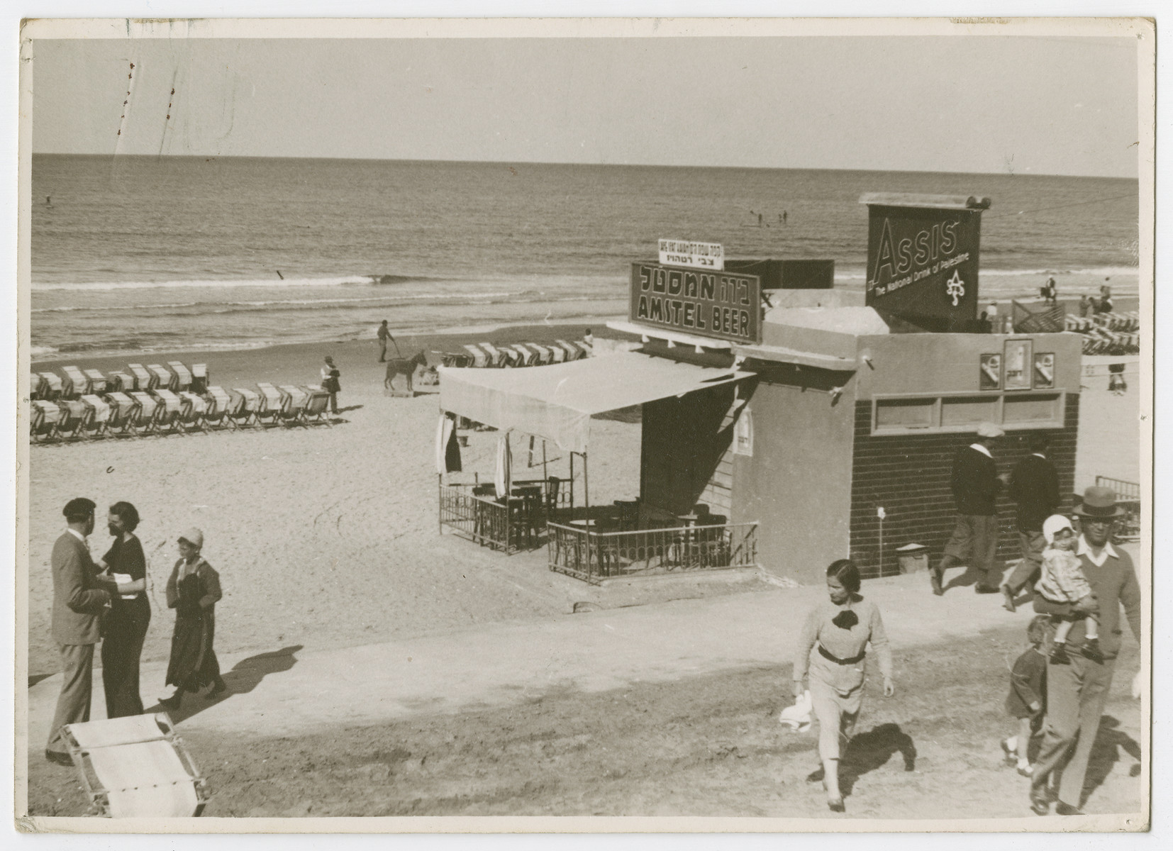 "View of the beach of Tel Aviv.  Photograph is used on page 267 of Robert Gessner's ""Some of My Best Friends are Jews."" The orginal pencil caption ironically reads, ""Coney Island!"""
