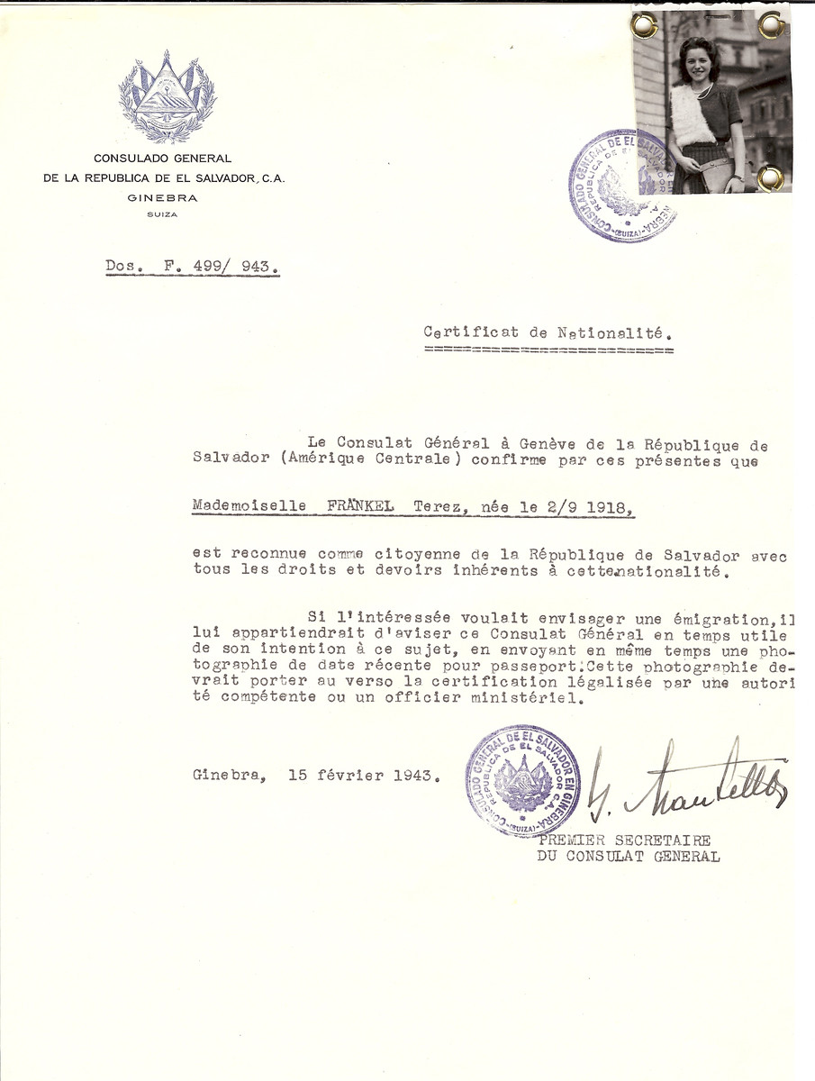Unauthorized Salvadoran citizenship certificate made out to Terez Frankel (b. September 2, 1918) by George Mandel-Mantello, First Secretary of the Salvadoran Consulate in Geneva.