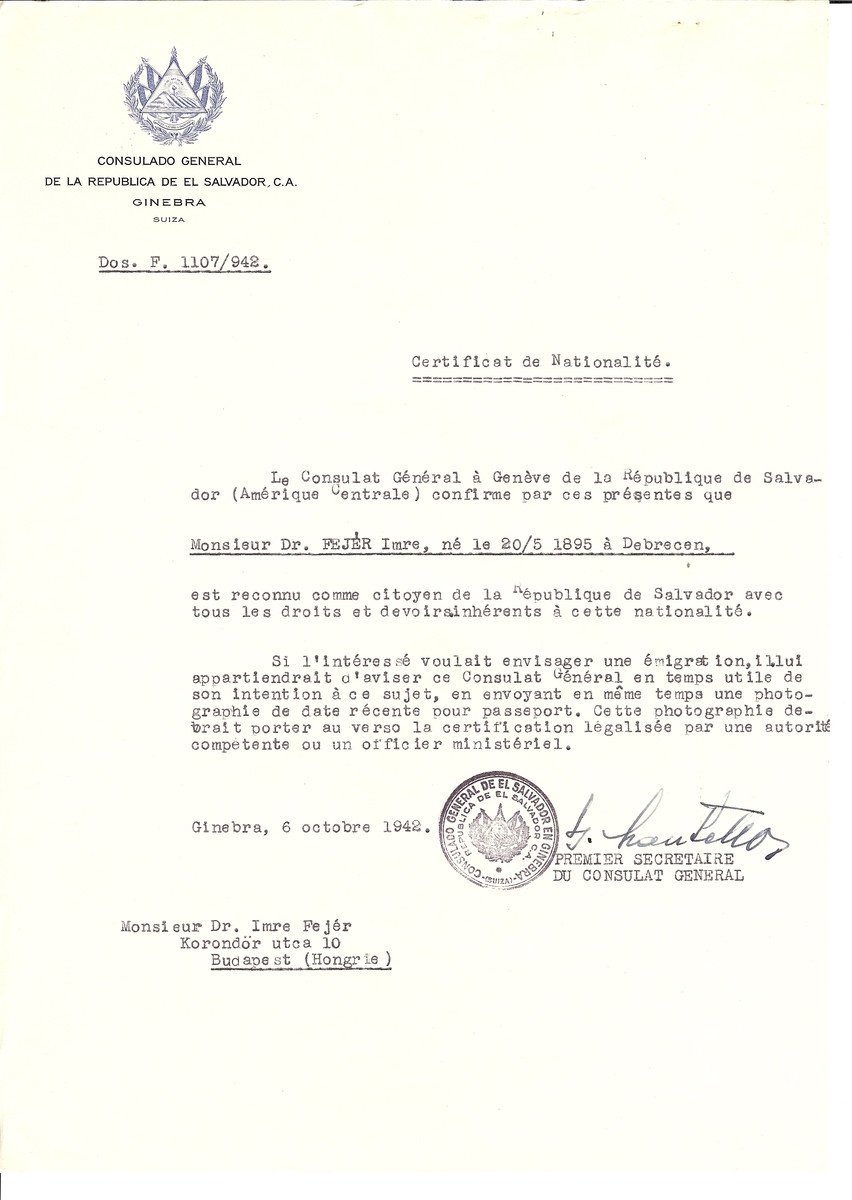 Unauthorized Salvadoran citizenship certificate made out to Dr. Imre Fejer (b. May 20, 1895 in Debrecen) by George Mandel-Mantello, First Secretary of the Salvadoran Consulate in Geneva and sent to him in Budapest.