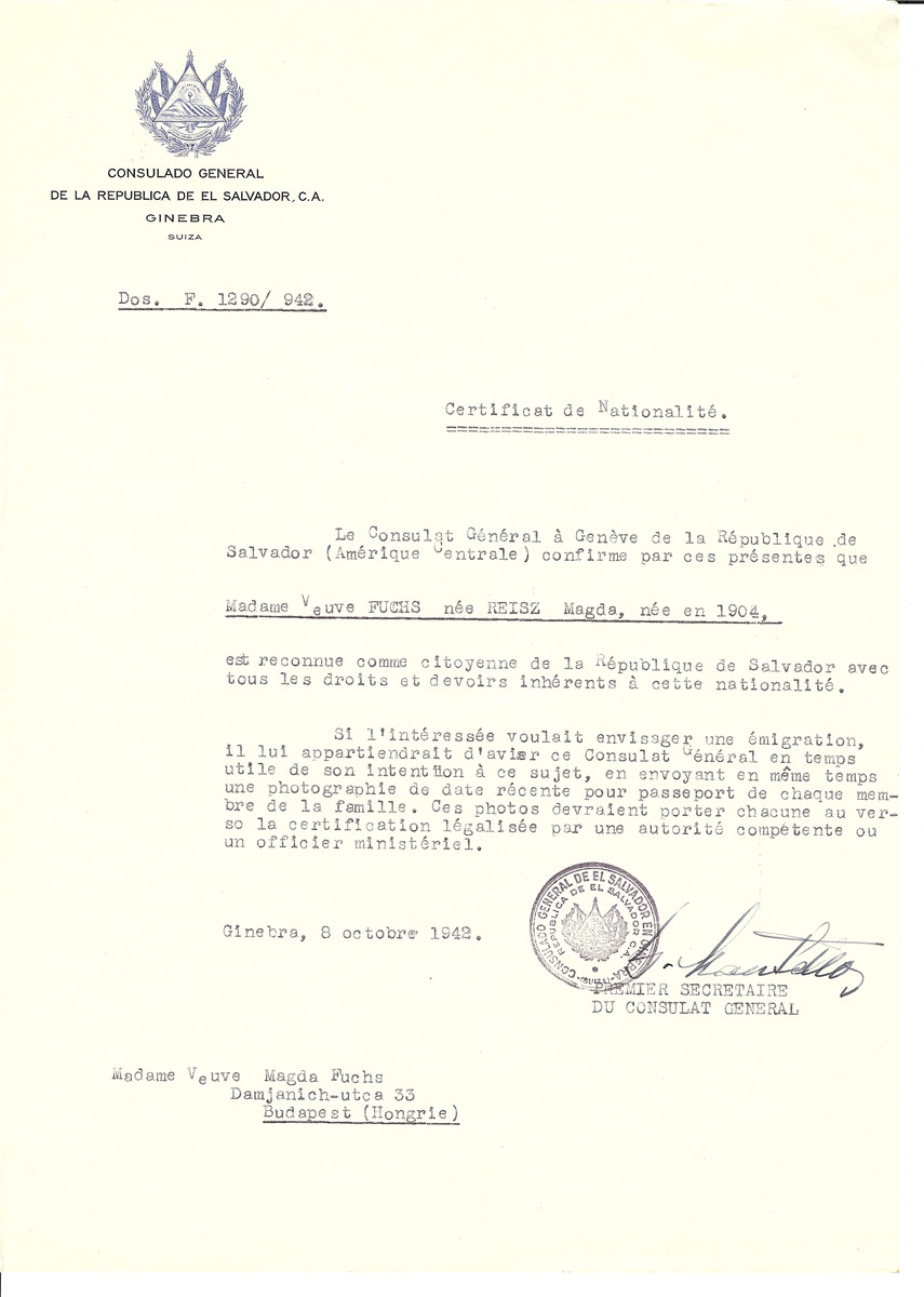 Unauthorized Salvadoran citizenship certificate made out to Magda (nee Reisz) Fuch (b. 1904) by George Mandel-Mantello, First Secretary of the Salvadoran Consulate in Geneva and sent to her in Budapest.