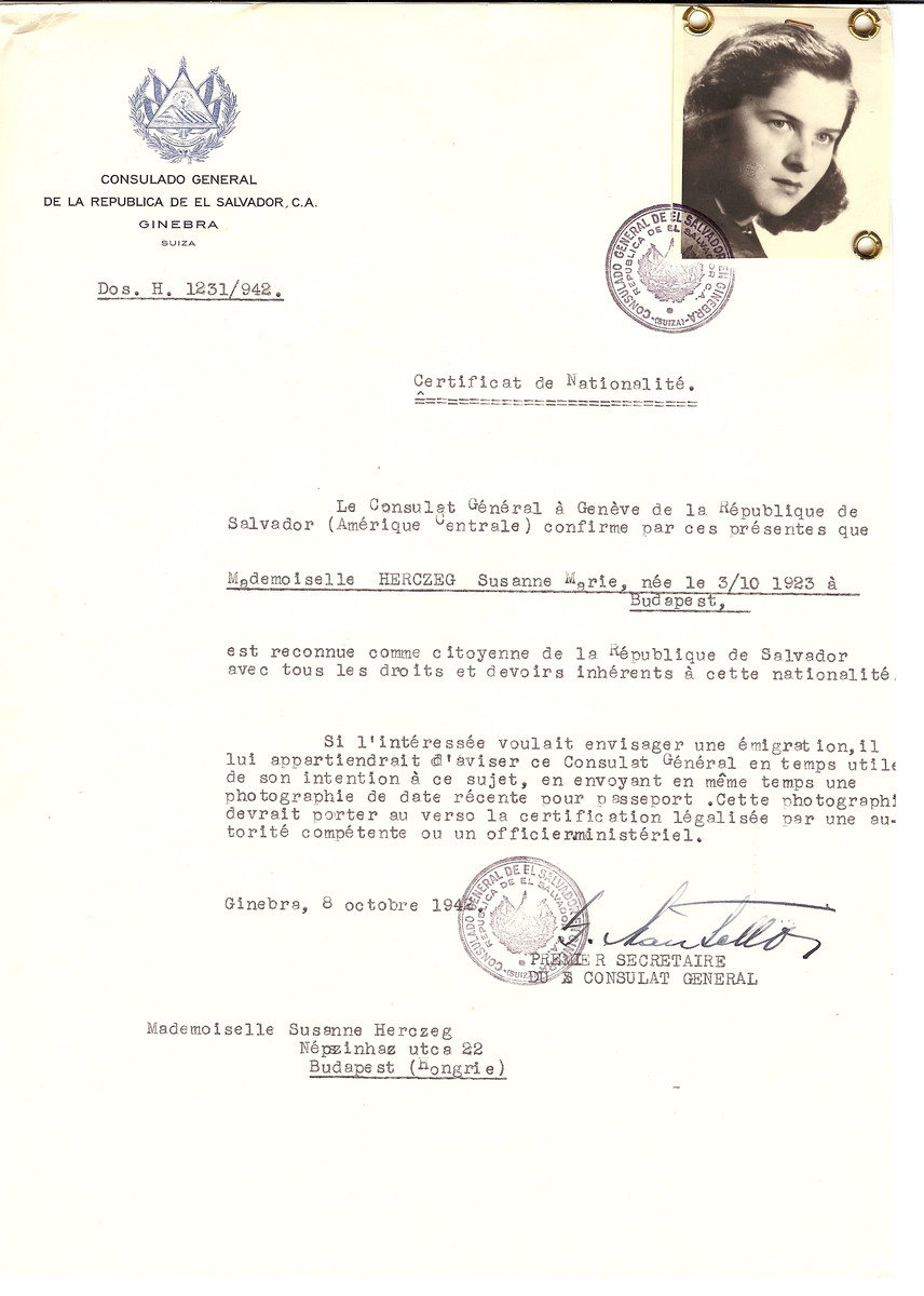 Unauthorized Salvadoran citizenship certificate made out to Susanne Marie Herczeg (b. October 3, 1923 in Budapest) by George Mandel-Mantello, First Secretary of the Salvadoran Consulate in Geneva and sent to her in Budapest.