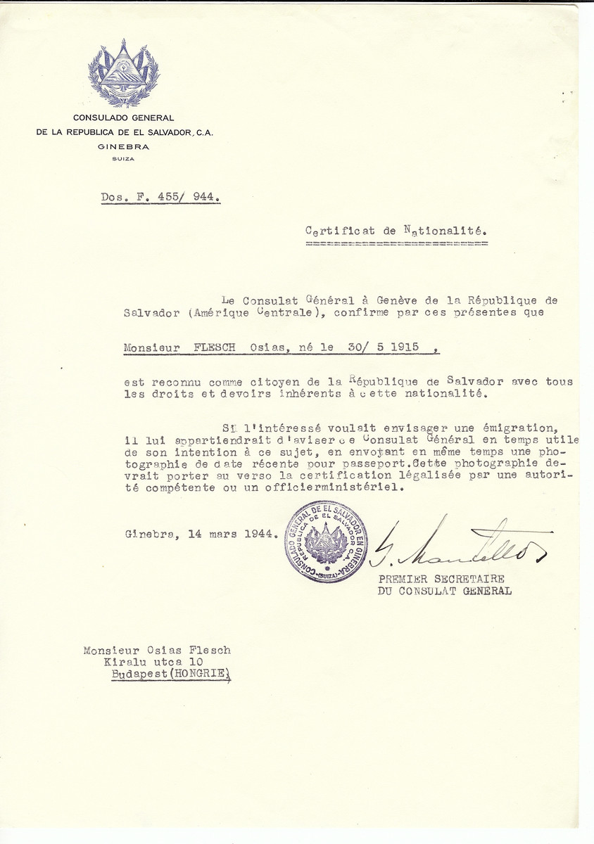 Unauthorized Salvadoran citizenship certificate made out to Osias Flesch (b. March 30, 1915) by George Mandel-Mantello, First Secretary of the Salvadoran Consulate in Geneva and sent to him in Budapest.