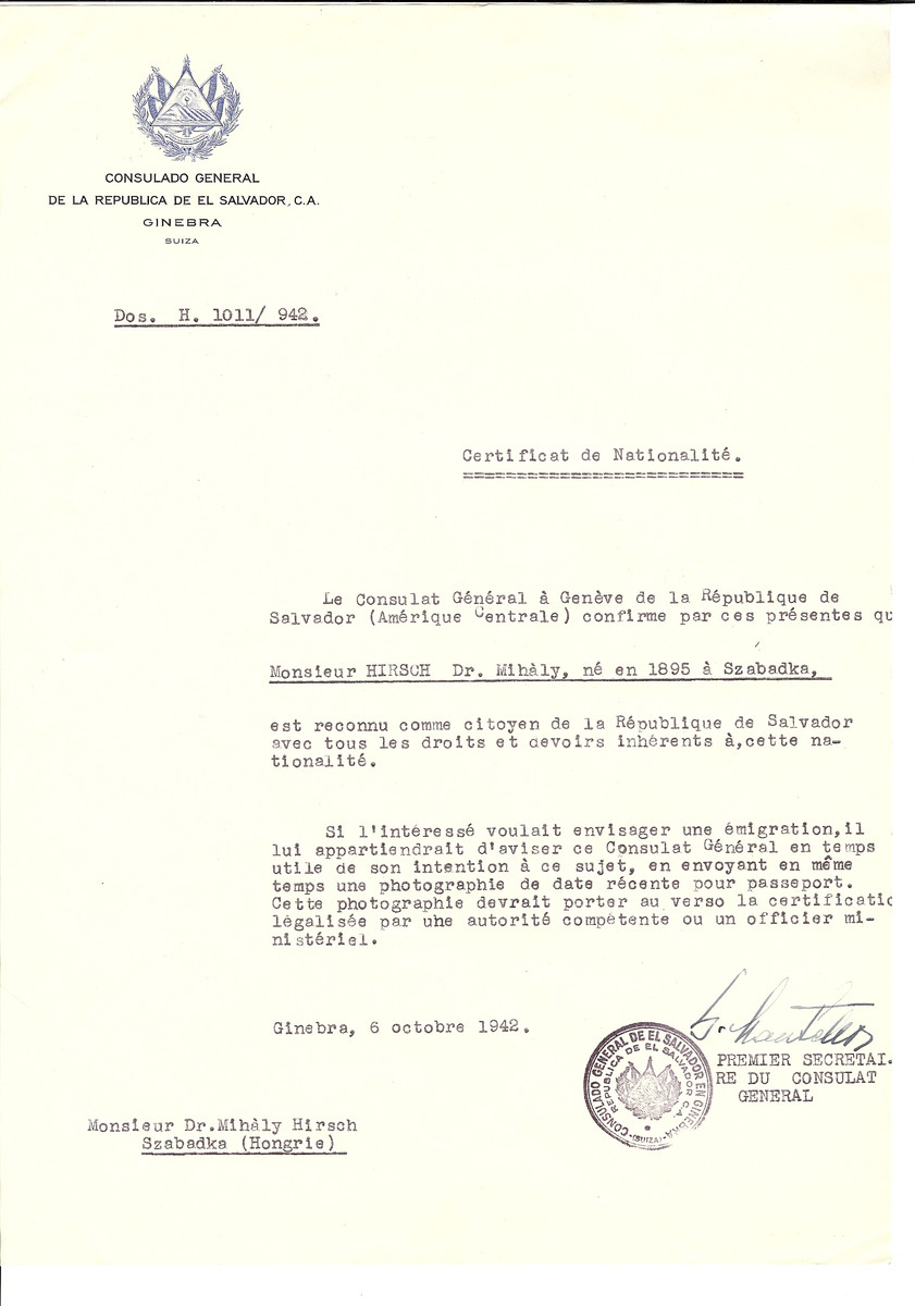 Unauthorized Salvadoran citizenship certificate made out to Dr. Mihaly Hirsch (b. 1896 in Subotica) by George Mandel-Mantello, First Secretary of the Salvadoran Consulate in Geneva and sent to him in Subotica.