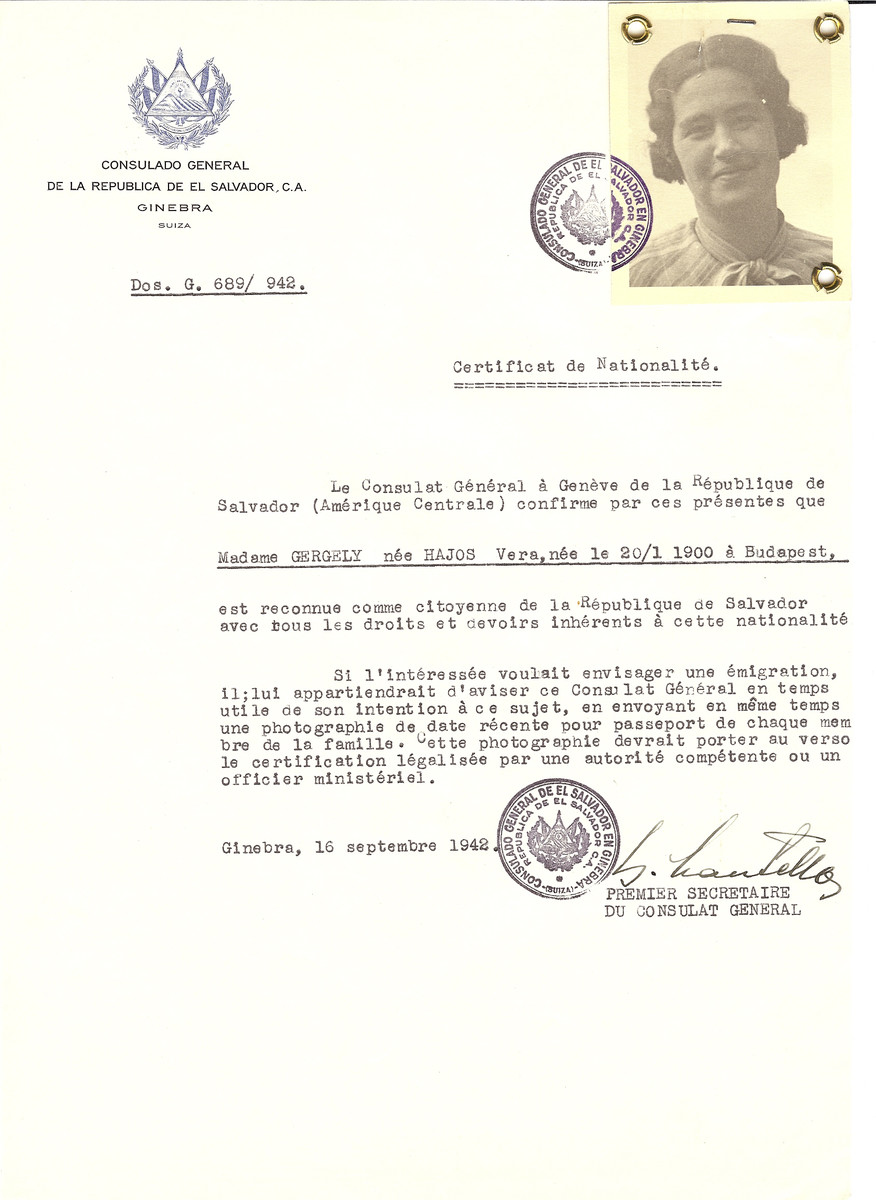 Unauthorized Salvadoran citizenship certificate made out to Vera (nee Hajos) Gergely (b. January 20, 1900 in Budapest) by George Mandel-Mantello, First Secretary of the Salvadoran Consulate in Geneva.