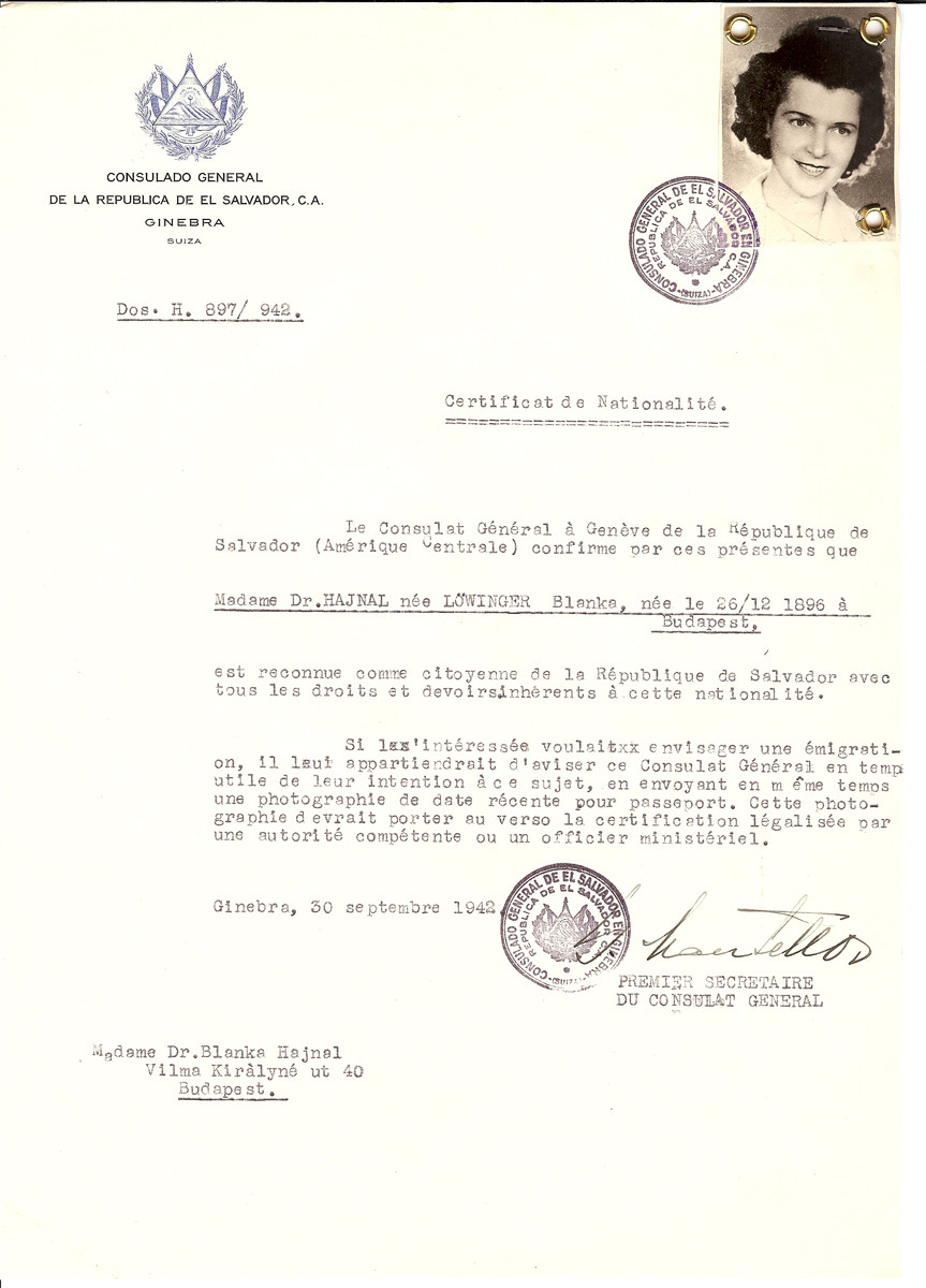 Unauthorized Salvadoran citizenship certificate made out to Blanka (nee Lowinger) Hajnal (b. December 26, 1896 in Budapest) by George Mandel-Mantello, First Secretary of the Salvadoran Consulate in Geneva and sent to her in Budapest.