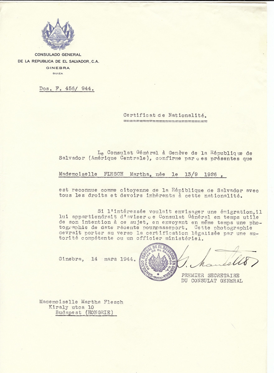 Unauthorized Salvadoran citizenship certificate made out to Martha Flesch (b. September 13, 1926) by George Mandel-Mantello, First Secretary of the Salvadoran Consulate in Geneva and sent to her in Budapest.