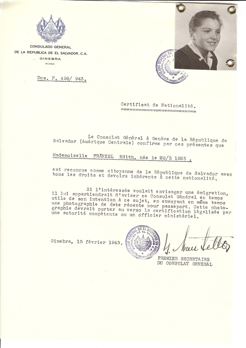 Unauthorized Salvadoran citizenship certificate made out to Edith Frankel (b. May 20, 1925) by George Mandel-Mantello, First Secretary of the Salvadoran Consulate in Geneva.