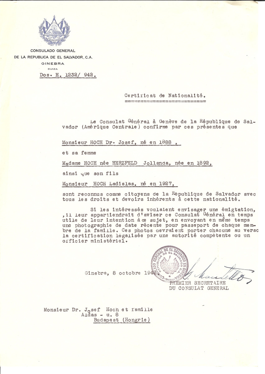 Unauthorized Salvadoran citizenship certificate made out to Dr. Josef Hoch (b. 1888), his wife Jollanda (nee Herzfeld) Hoch (b. 1892) and son Ladislas (b. 1927) by George Mandel-Mantello, First Secretary of the Salvadoran Consulate in Geneva and sent to them in Budapest.