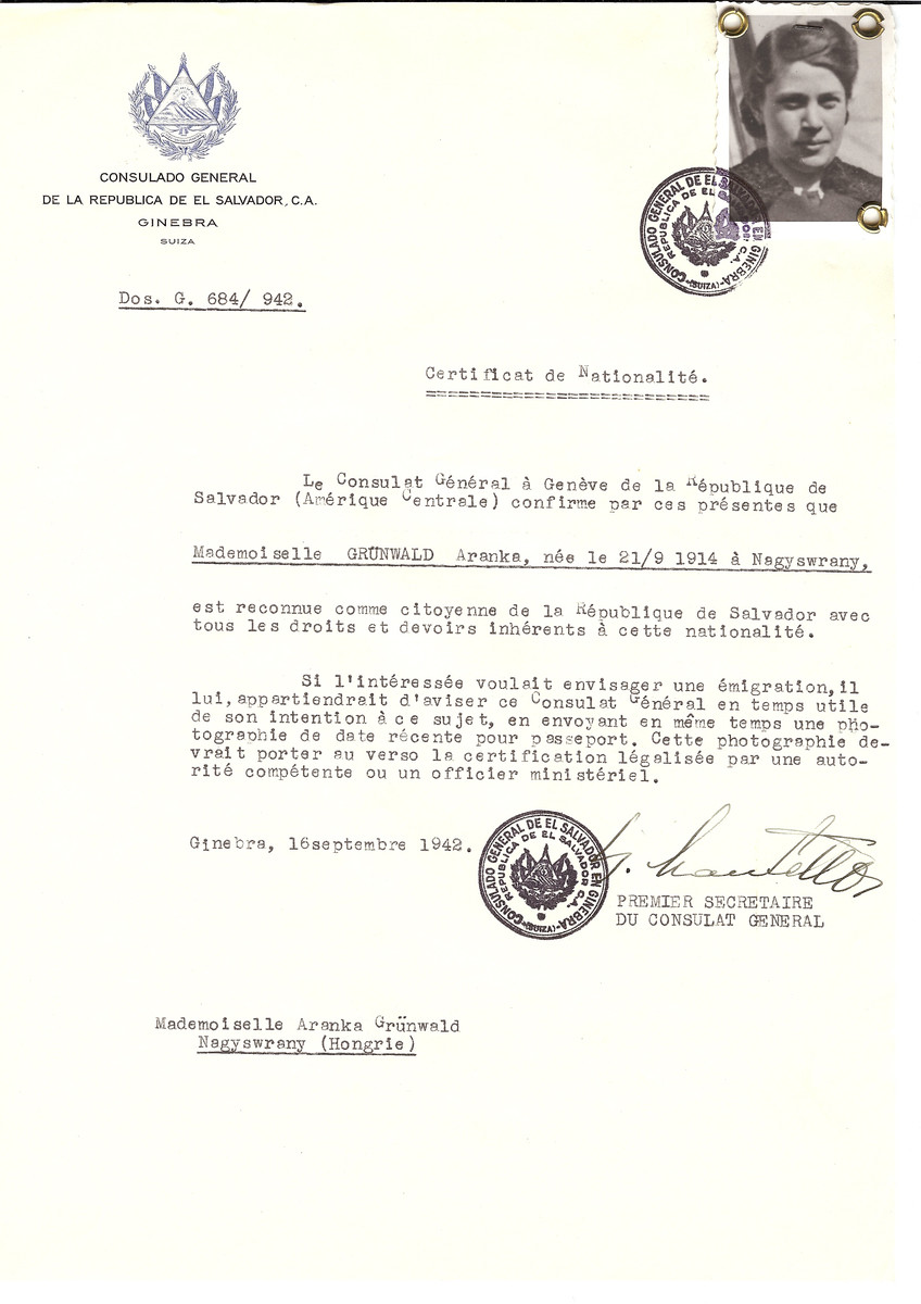Unauthorized Salvadoran citizenship certificate made out to Aranka Gruenwald (b. September 21, 1914 in Surany) by George Mandel-Mantello, First Secretary of the Salvadoran Consulate in Geneva and sent to her in Surany.