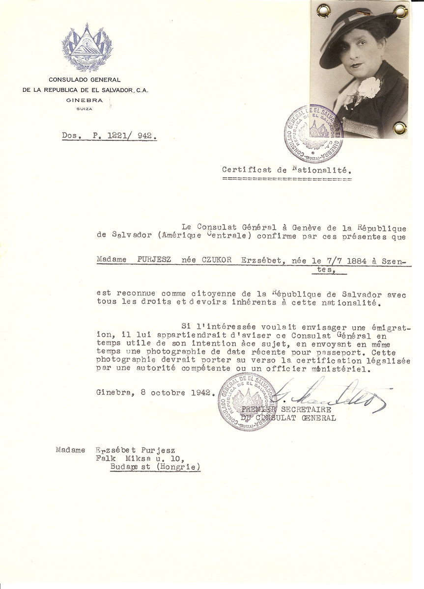 Unauthorized Salvadoran citizenship certificate made out to Erzsebet (nee Czukor) Purjesz (b. July 7, 1884 in Szentes) by George Mandel-Mantello, First Secretary of the Salvadoran Consulate in Geneva and sent to her in Budapest.
