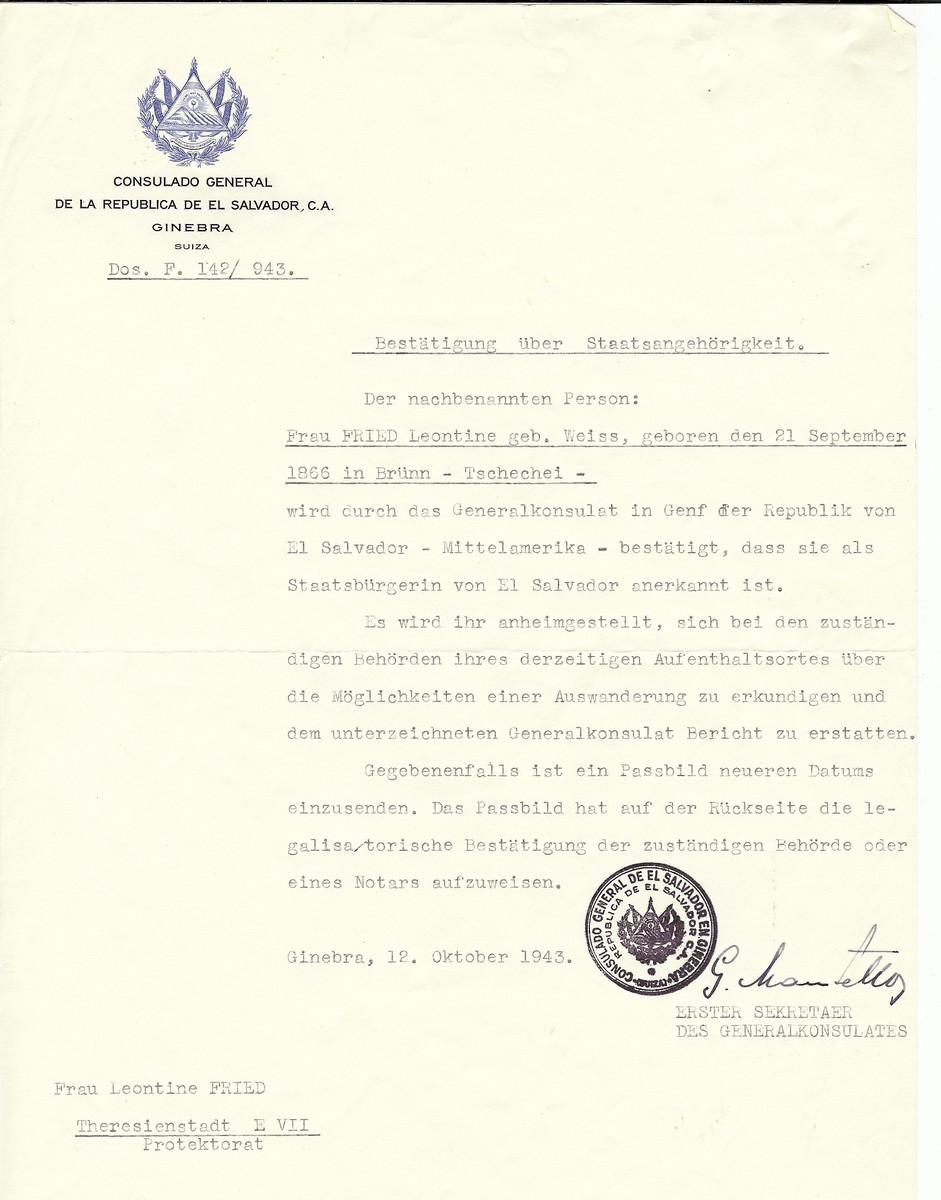 Unauthorized Salvadoran citizenship certificate made out to Leontine (nee Weiss) Fried (b. September 21, 1866 in Brunn) by George Mandel-Mantello, First Secretary of the Salvadoran Consulate in Geneva and sent to ther in Theresienstadt.