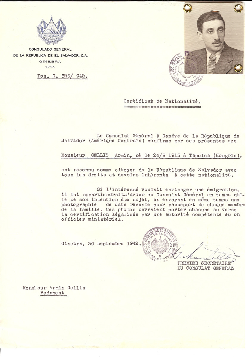 Unauthorized Salvadoran citizenship certificate made out to Armin Gellis (b. August 24, 1915 in Tapolca) by George Mandel-Mantello, First Secretary of the Salvadoran Consulate in Geneva and sent to him in Budapest