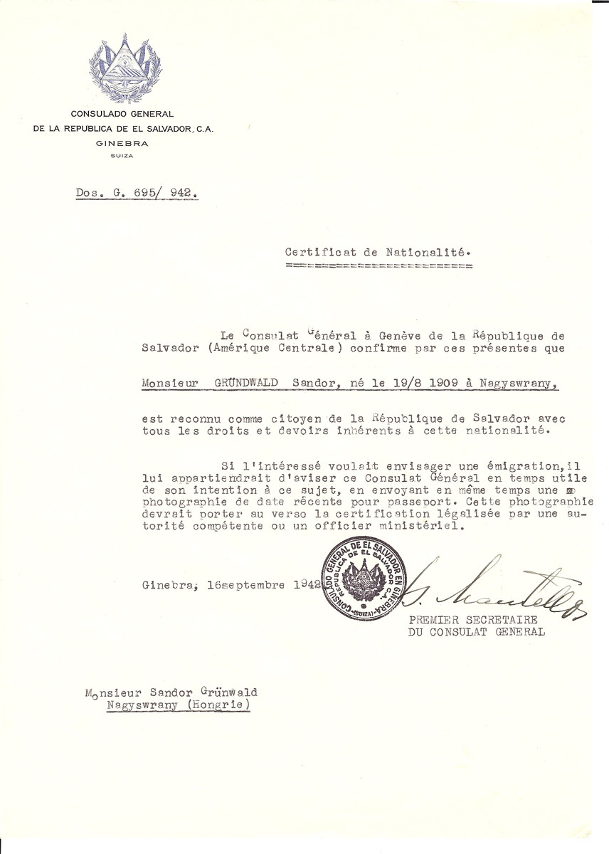 Unauthorized Salvadoran citizenship certificate made out to Sandor Gruendwald (b. August 19. 1909 in Surany) by George Mandel-Mantello, First Secretary of the Salvadoran Consulate in Geneva and sent to him in Surany.
