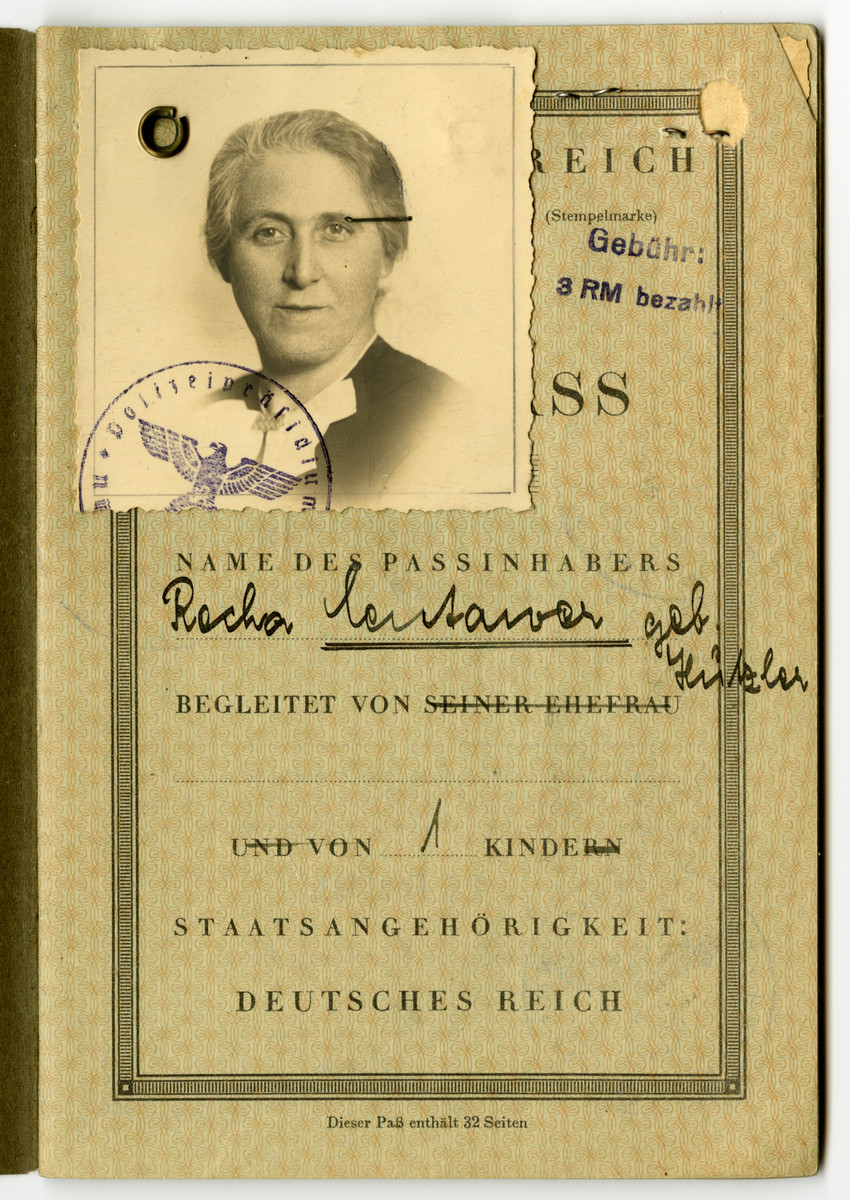 German passport and photo issued to Recha Centawer and stamped with the Nazi eagle..