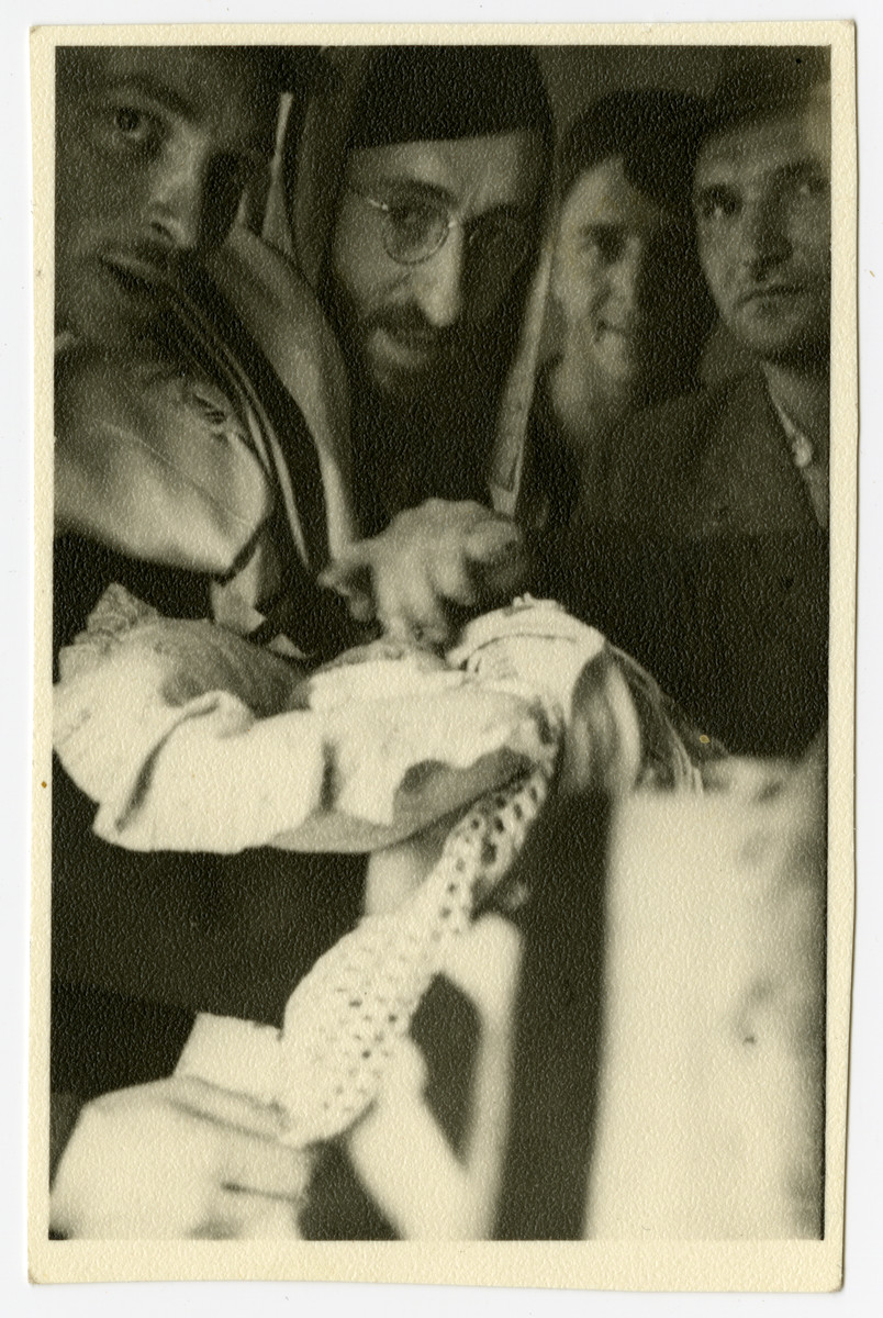Brit milah of Moshe Sadik in the Braunau displaced persons camp.