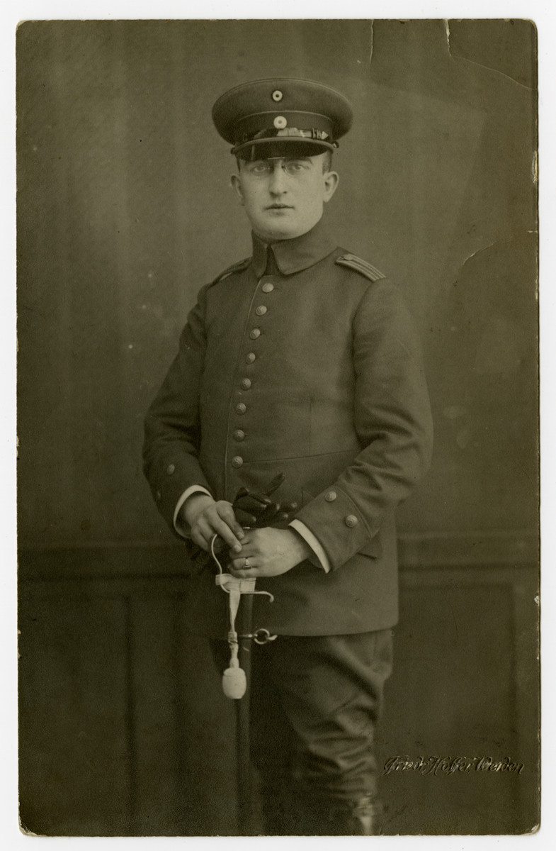 Studio portrait of Lt. James Centawer in his German army uniform.