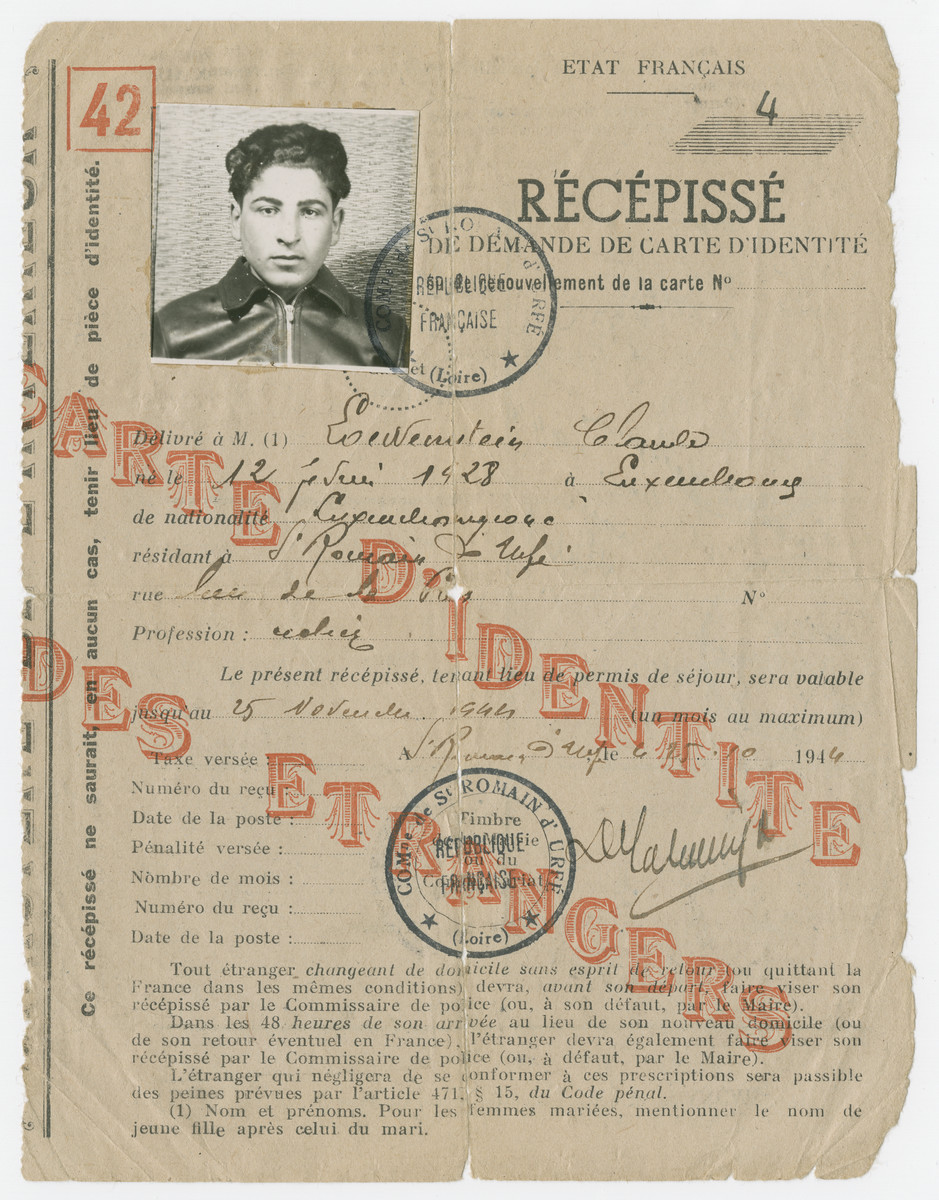 Alien identification papers issued to Claude Lowenstein.