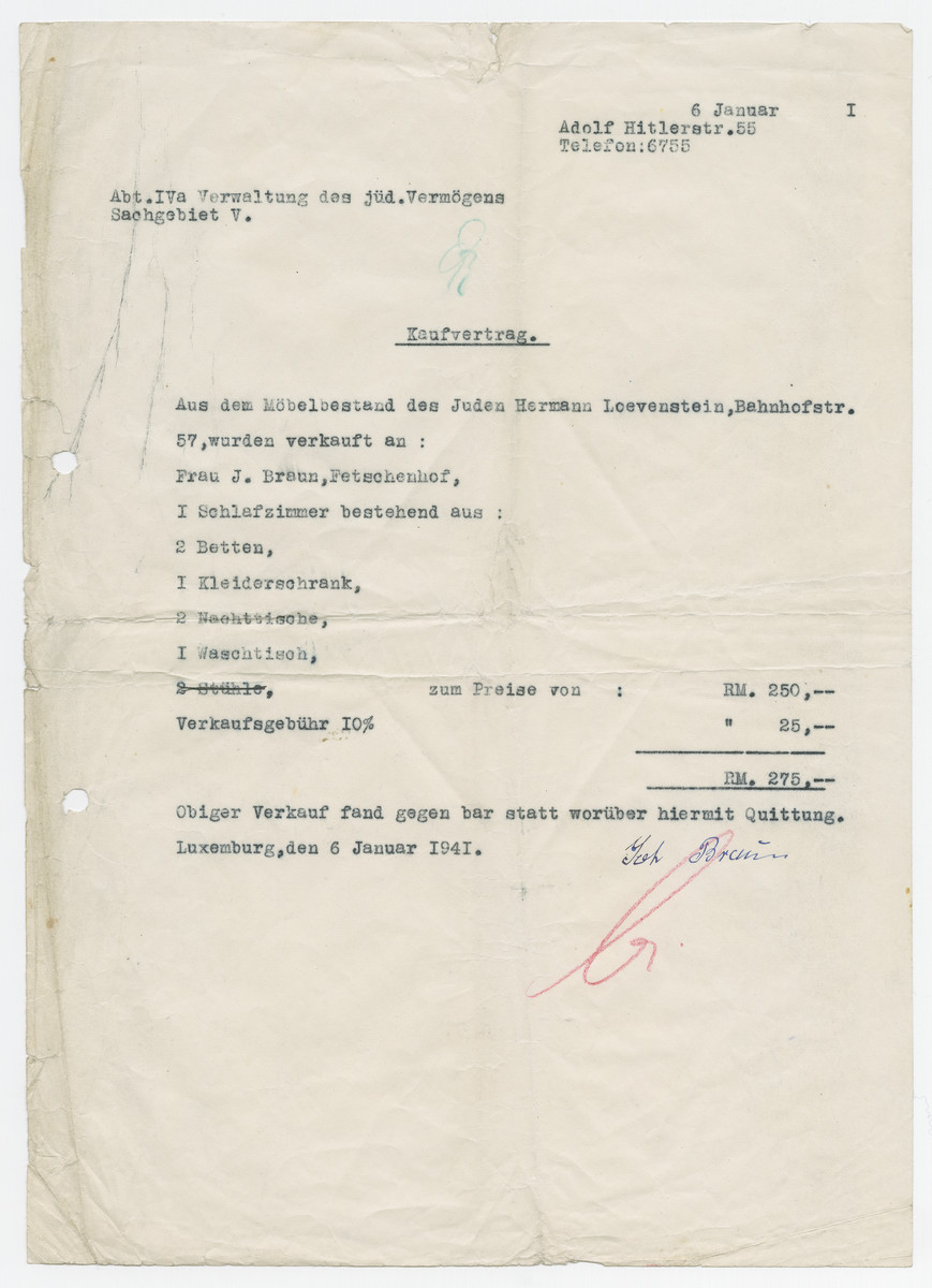 Document from the manager of Jewish assets stating that the Jew Herman Loewenstein sold his bedroom set to Mrs. Braun at his address on what is now Adolf Hitler Street.