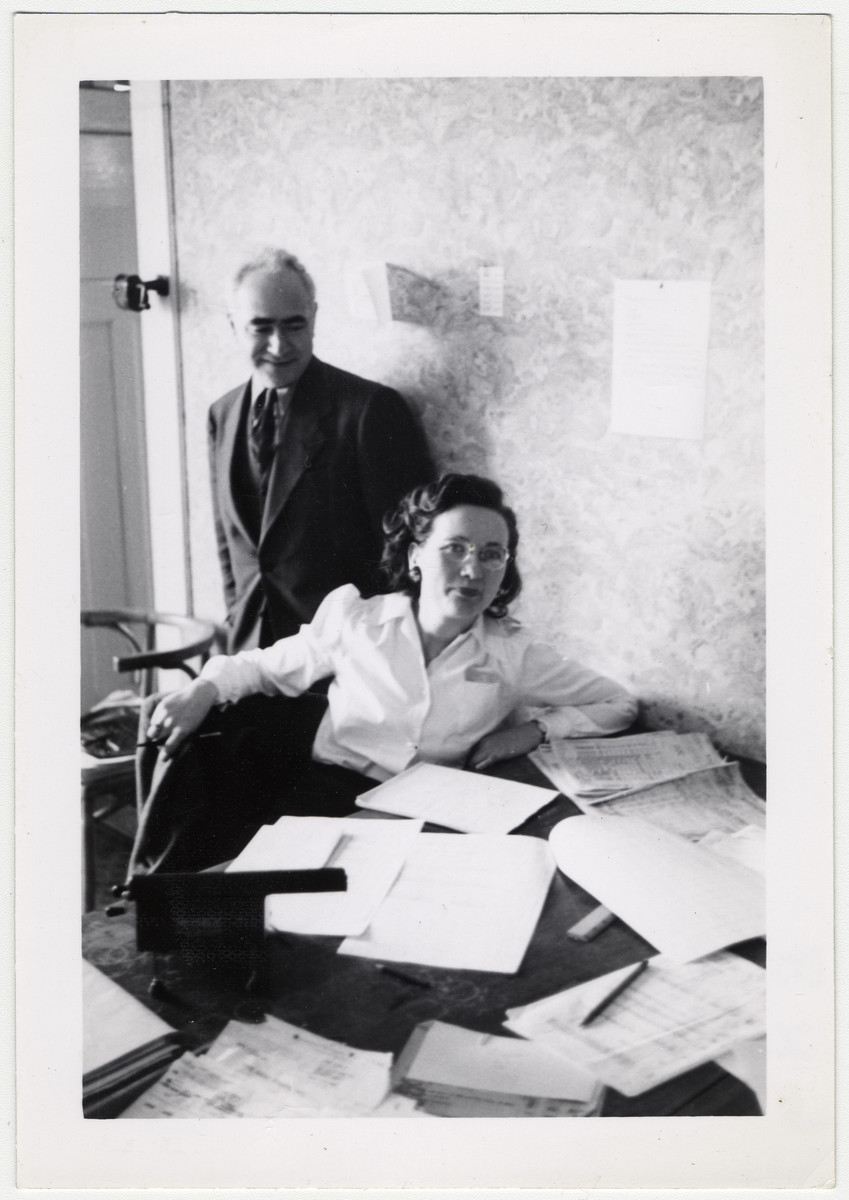 Maurice Levitt, a member of the Frankfurt Jewish GI Council, and a member of  his staff work in their office in Bad Nauheim.
