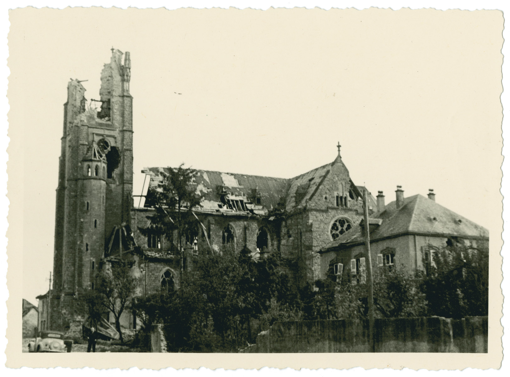 View of a bomb damaged cathedral in an unidentified location  [probably in France].