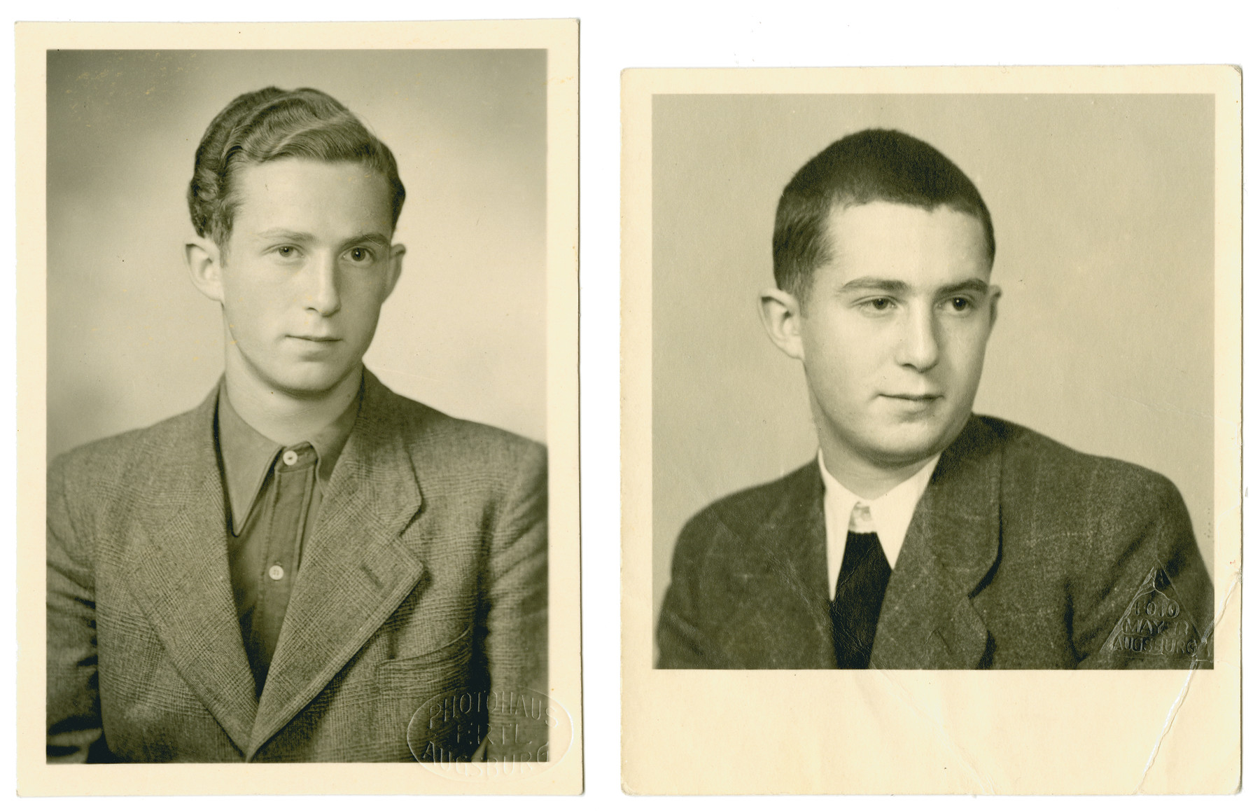 Studio portraits of Heinz Landman taken before and after his incarceration in Dachau on Kristallnacht.