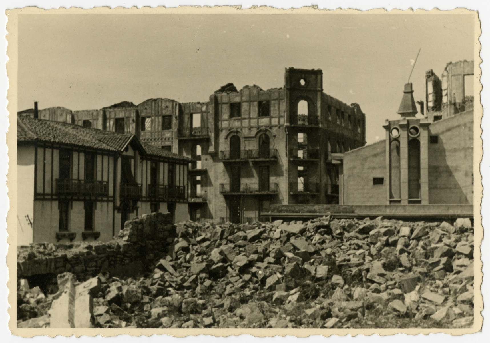 View of a bombed-out section of Tours taken after liberation.