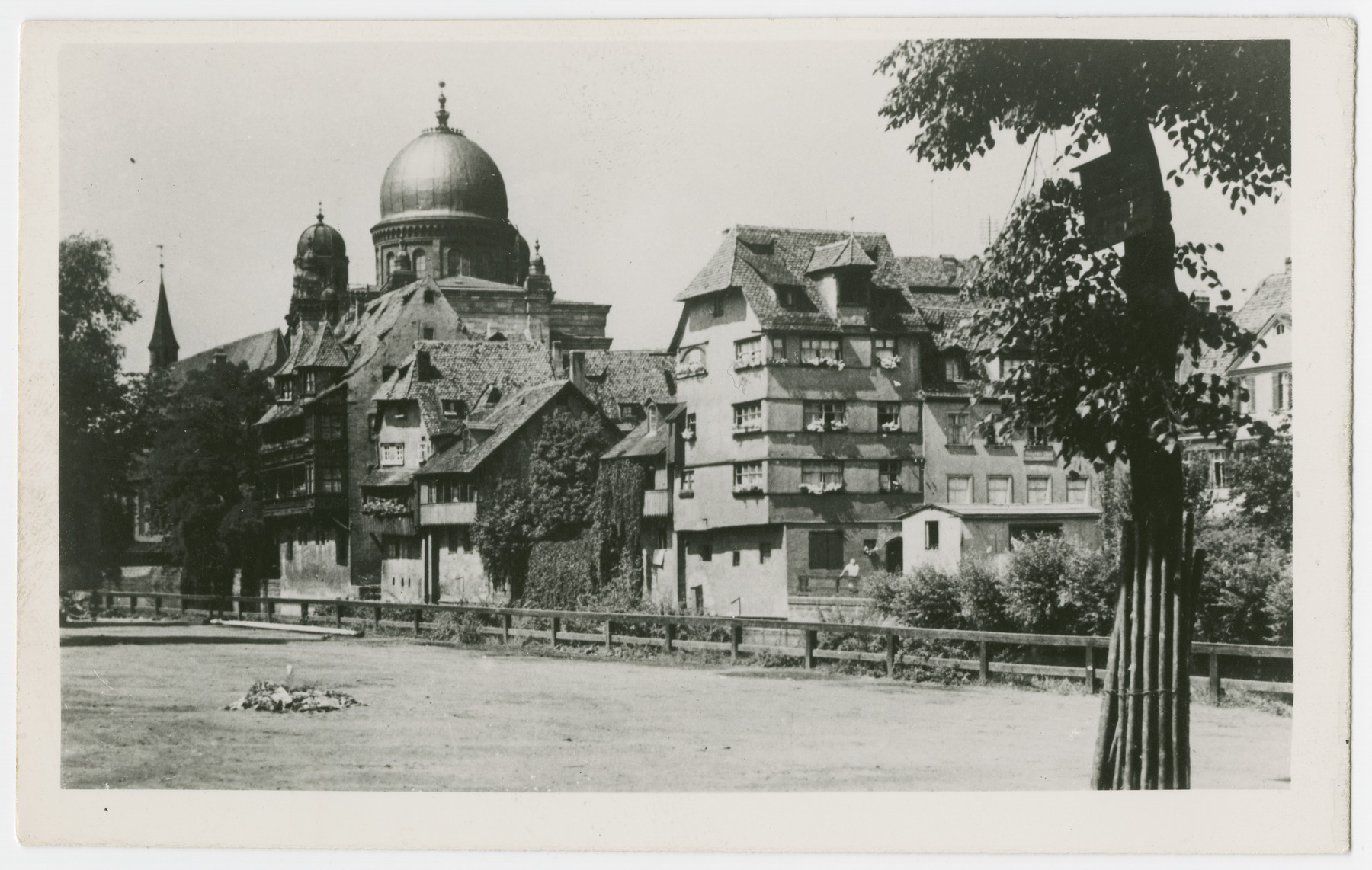 View of Nuremberg Germany; the synagogue is pictured on the left of the photo.