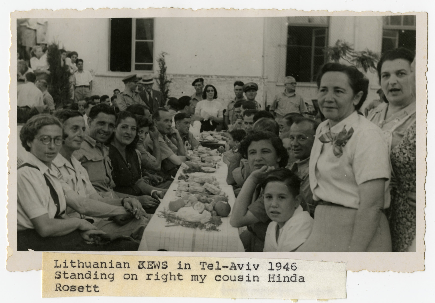 Lithuanian immigrants gather for a celebration in Tel Aviv.  Hinda Rossett (the cousin of Paul Bagriansky) is standing on the right.