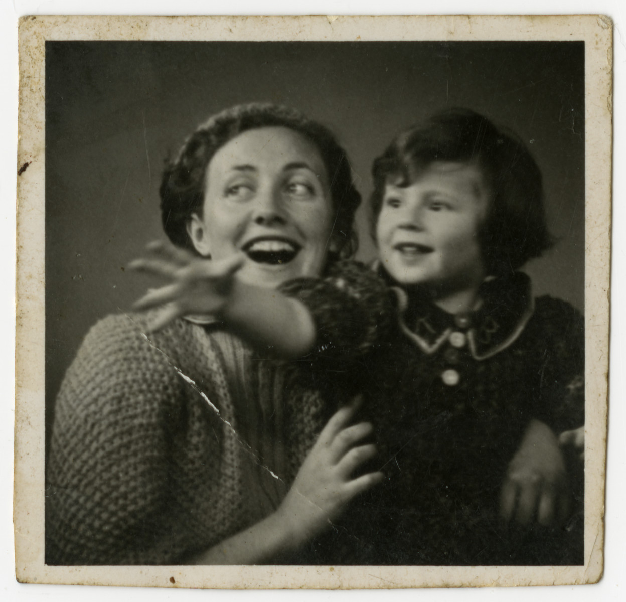 Close-up portrait of Gerta Bagriansky with her daughter Rosian.