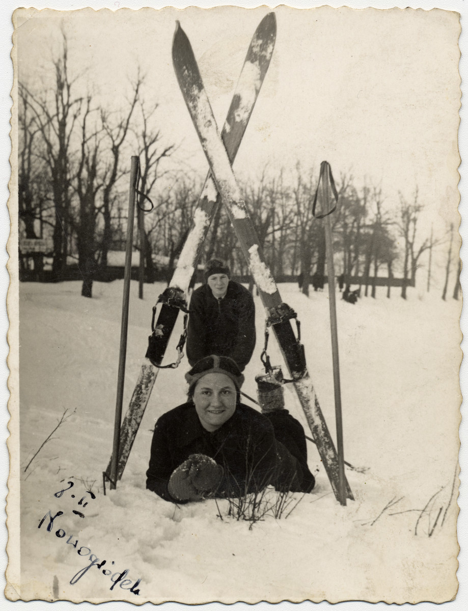 Sonia Boldo (later Bielski) lies in the snow underneath her skis.    Sonia escaped from the Nowogrodek ghetto in 1942 and came to the forest.  There she met and married Zus Bielski.