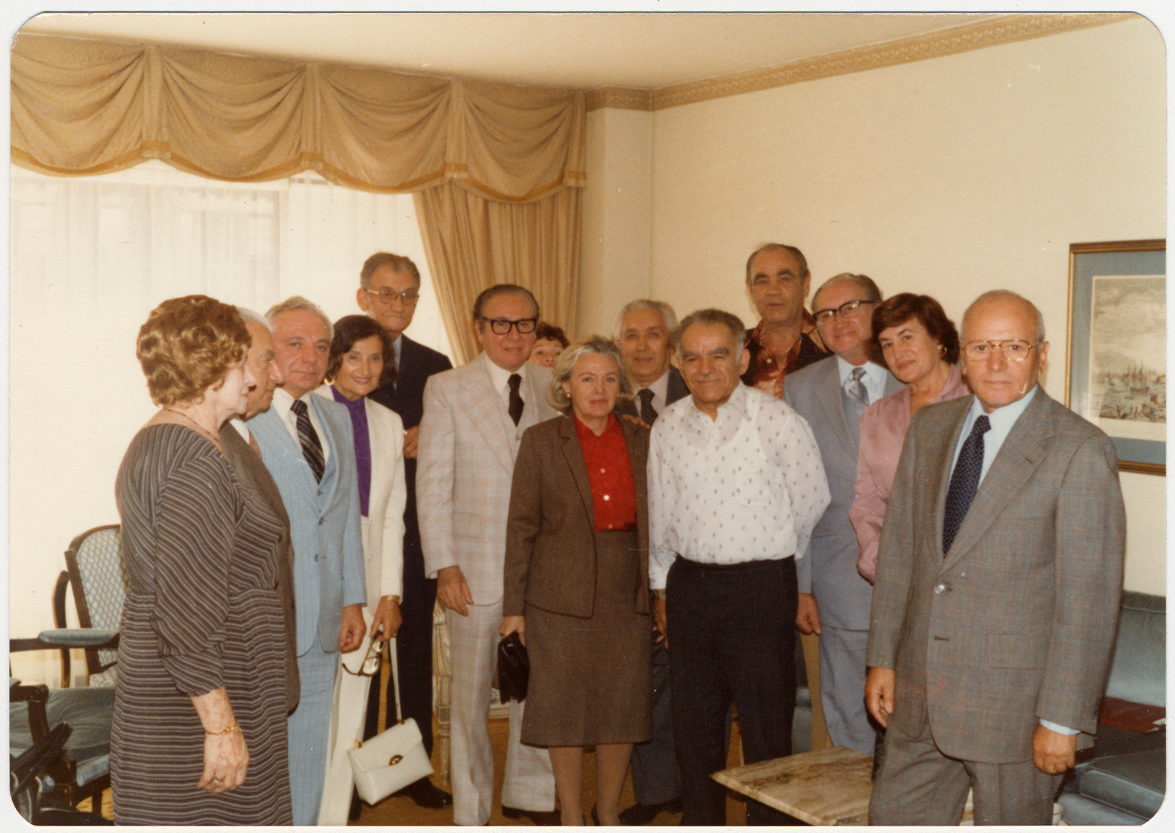 Reunion of Bielski partisans in New York.    Tuvia Bielski is fifth from the left.  Zus Bielski is fourth from the right.  Sonia Aushman is fourth from the left.  Isaac Mendelson is on the far right.