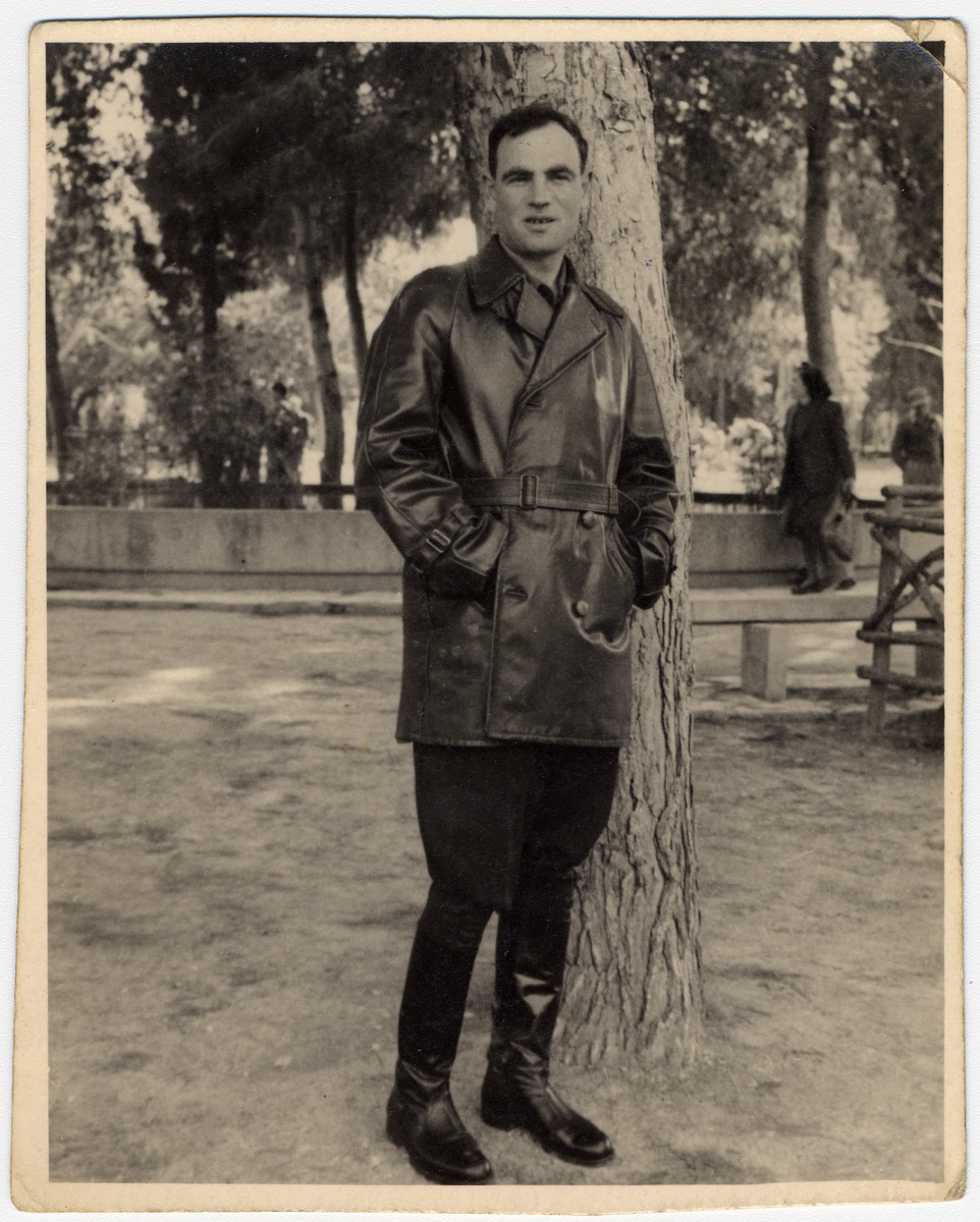 Postwar portrait of Zus Bielski visiting a park in Ramat Gan.