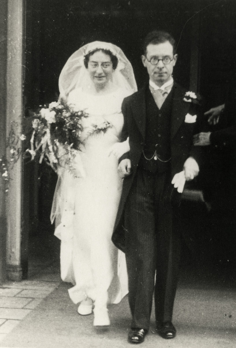 Wedding portrait of Josef and Mathilda Prims, the donor's aunt and uncle, both of whom later perished in the Holocaust.
