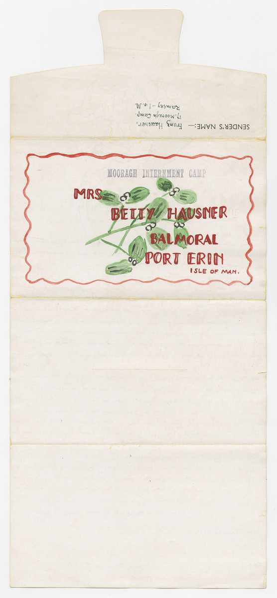 Back side of an illustrated letter from Franz Hausner, an internee in the Mooragh Camp, to his wife Betty in the Balmoral camp, both of which are on the Isle of Man.