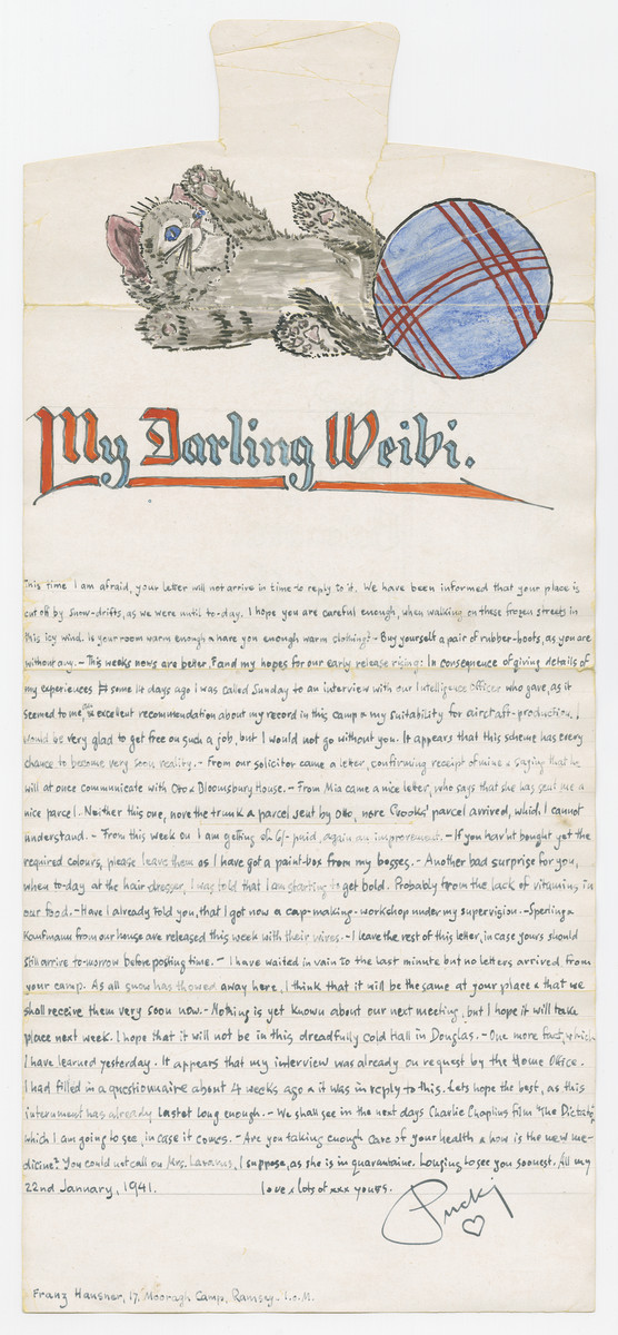 Illustrated letter from Franz Hausner, an internee in the Mooragh Camp, to his wife Betty in the Balmoral camp, both of which are on the Isle of Man.