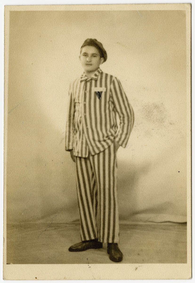 Postwar studio portrait of Mayer Honigsberg.wearing a concentration camp uniform.  [This may be the same Mayer Honigsberg who was born in Slupja Nowa on May 11 either 1927 or 1929, and was later deported to Buchenwald via Auschwitz.]