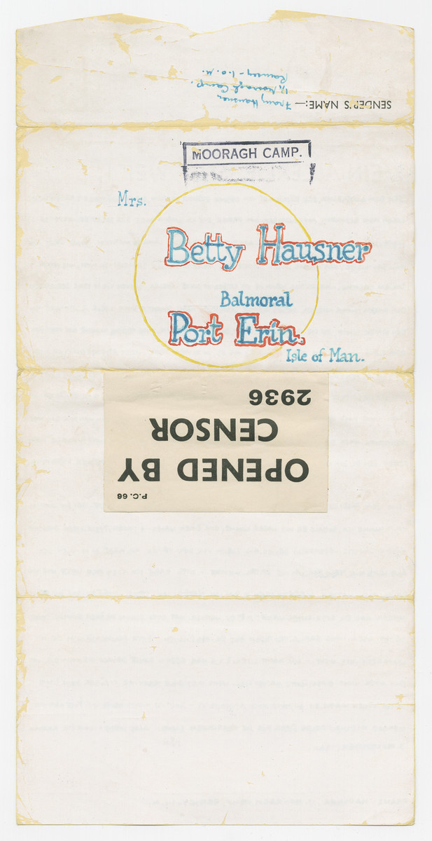 Back side of an illustrated letter from Franz Hausner, an internee in the Mooragh Camp, to his wife Betty in the Balmoral camp, both of which are on the Isle of Man.  This stamp states that the letter was opened by the censor.