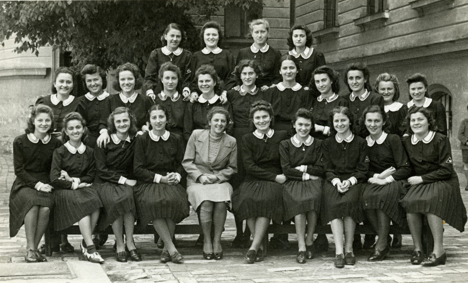 Girls in a high school class in Subotica.  Yehudit Steiglitz is pictured in the front row, fourth from the right.