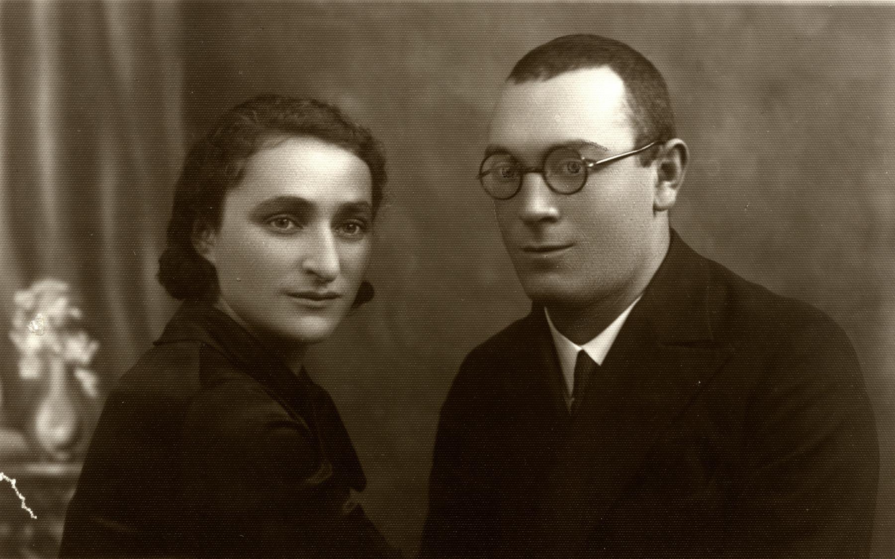 Studio portrait of Israel Kaplan and Leah Greenstein taken shortly around their wedding day.