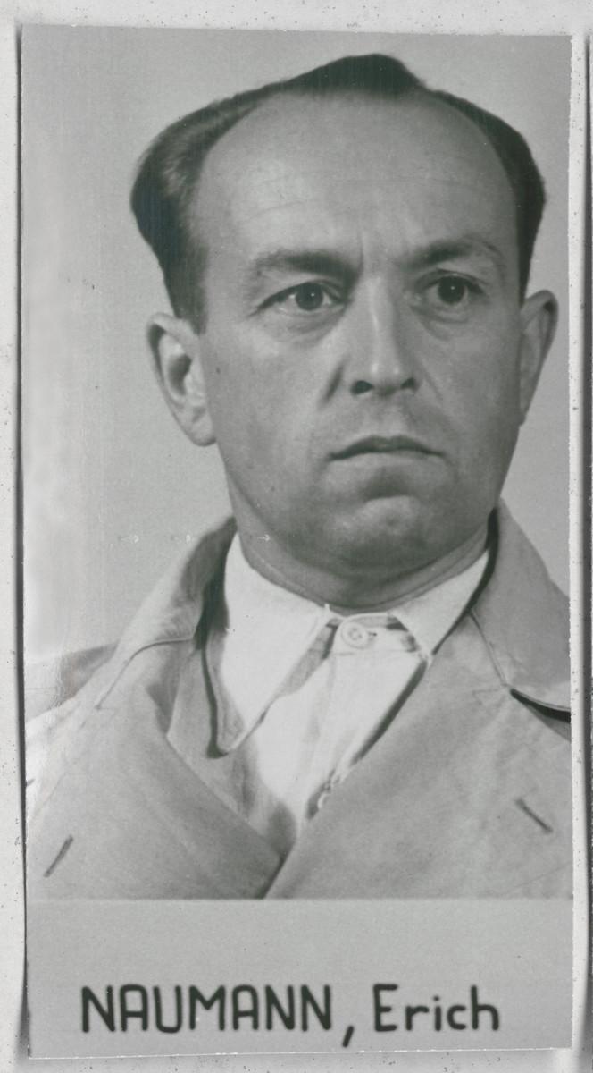 Defendant Erich Naumann at the Einsatzgruppen Trial.  Naumann was the Commanding Officer of Einsatzgruppe B.