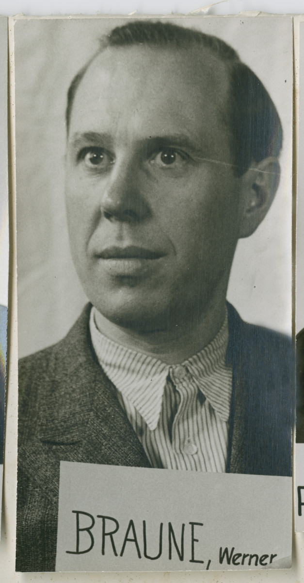 Head shot of Werner Braune. He was an SS ranking officer, mmber of the SD and Gestapo, and a commanding officer of the Einsatzgruppen D. He was sentenced to death by hanging and executed on June 7, 1951.
