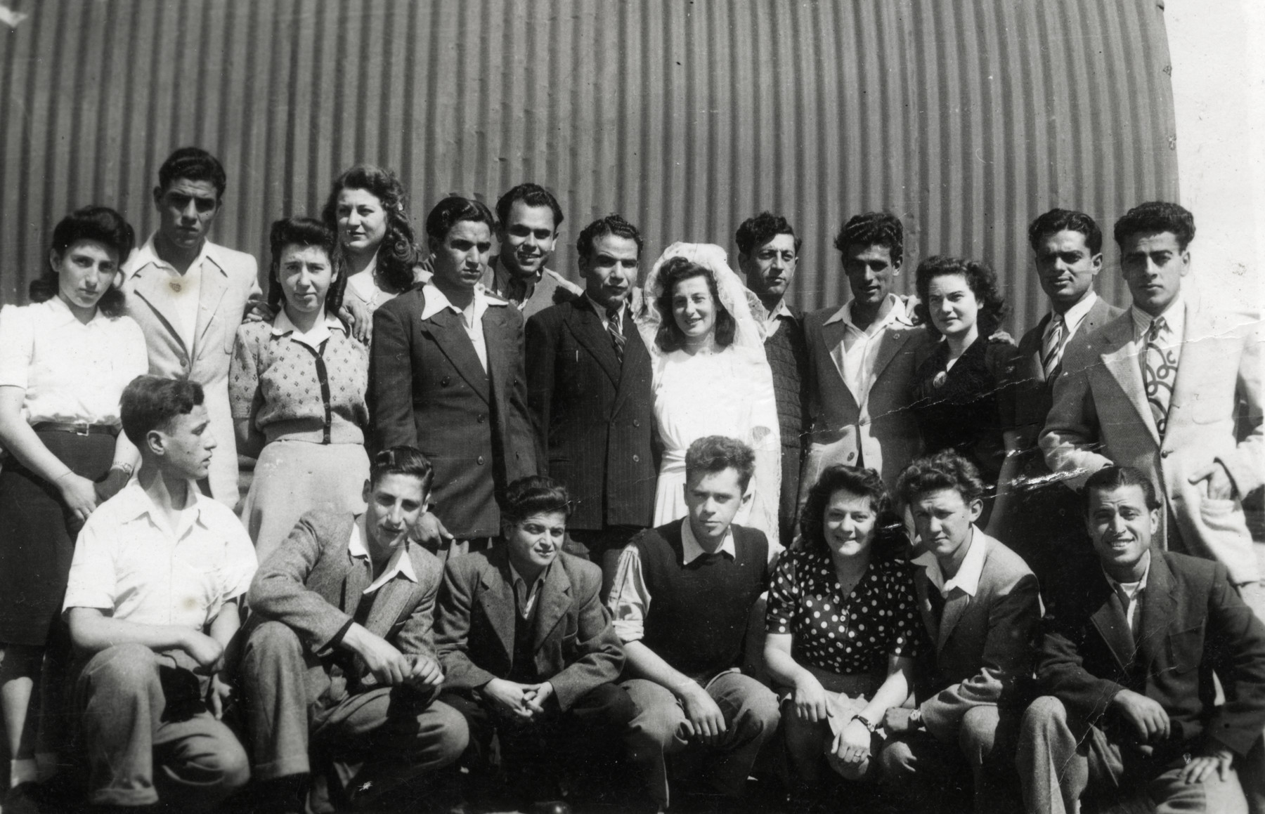 Internees in Cyprus celebrate the wedding of a Polish born bride and a Tunisian born groom.