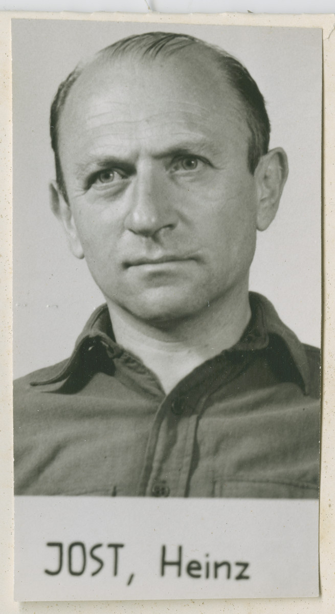 Heinz Jost, an SS Brigadefuhrer, member of the SD, and commanding officer of Einsatzgruppen A.   Jost was sentenced to lifetime imprisonment which was commuted to 10 years. Jost died in 1964.