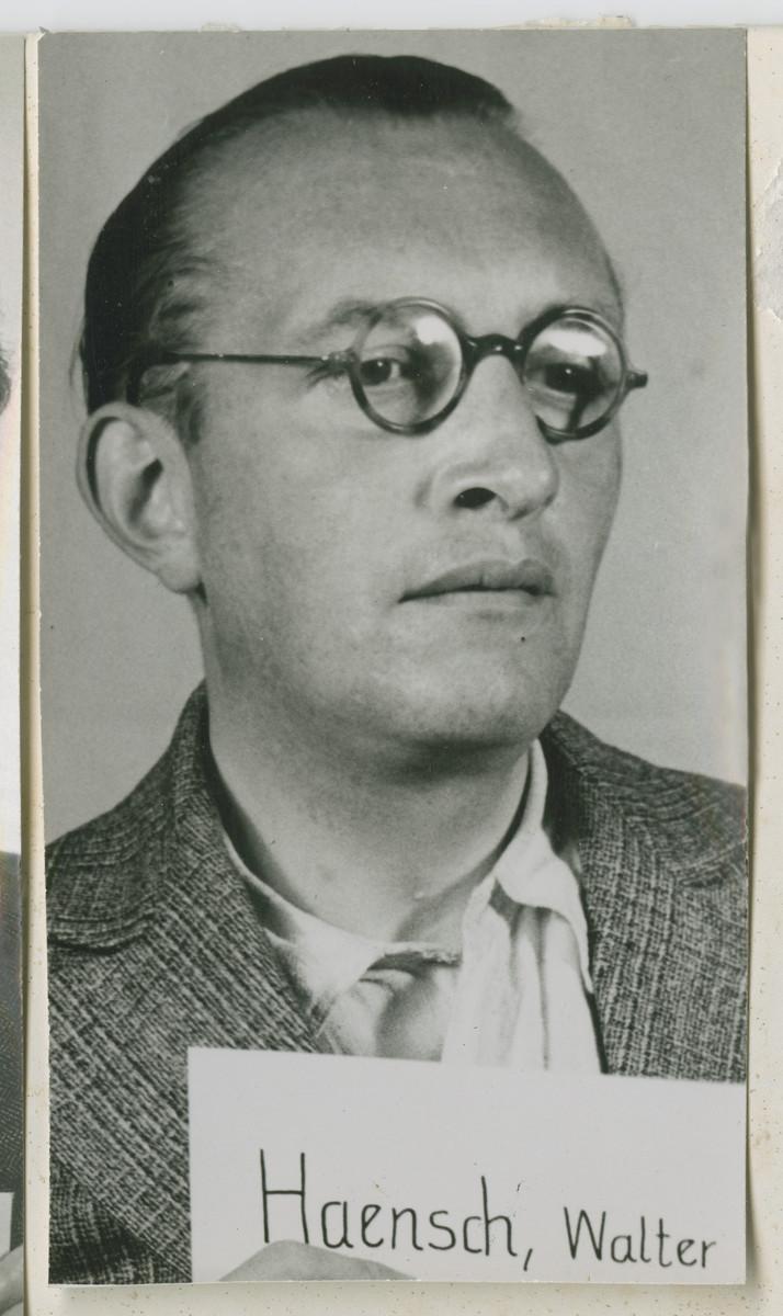 Defendant Walter Haensch at the Einsatzgruppen Trial.  Haensch was the Commanding Officer of Sonderkommando 4b of Einsatzgruppe C.