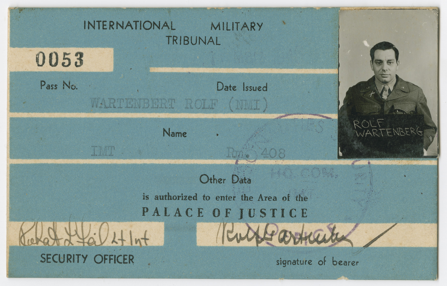 International Military Tribunal identification card for Rolf Wartenberg.