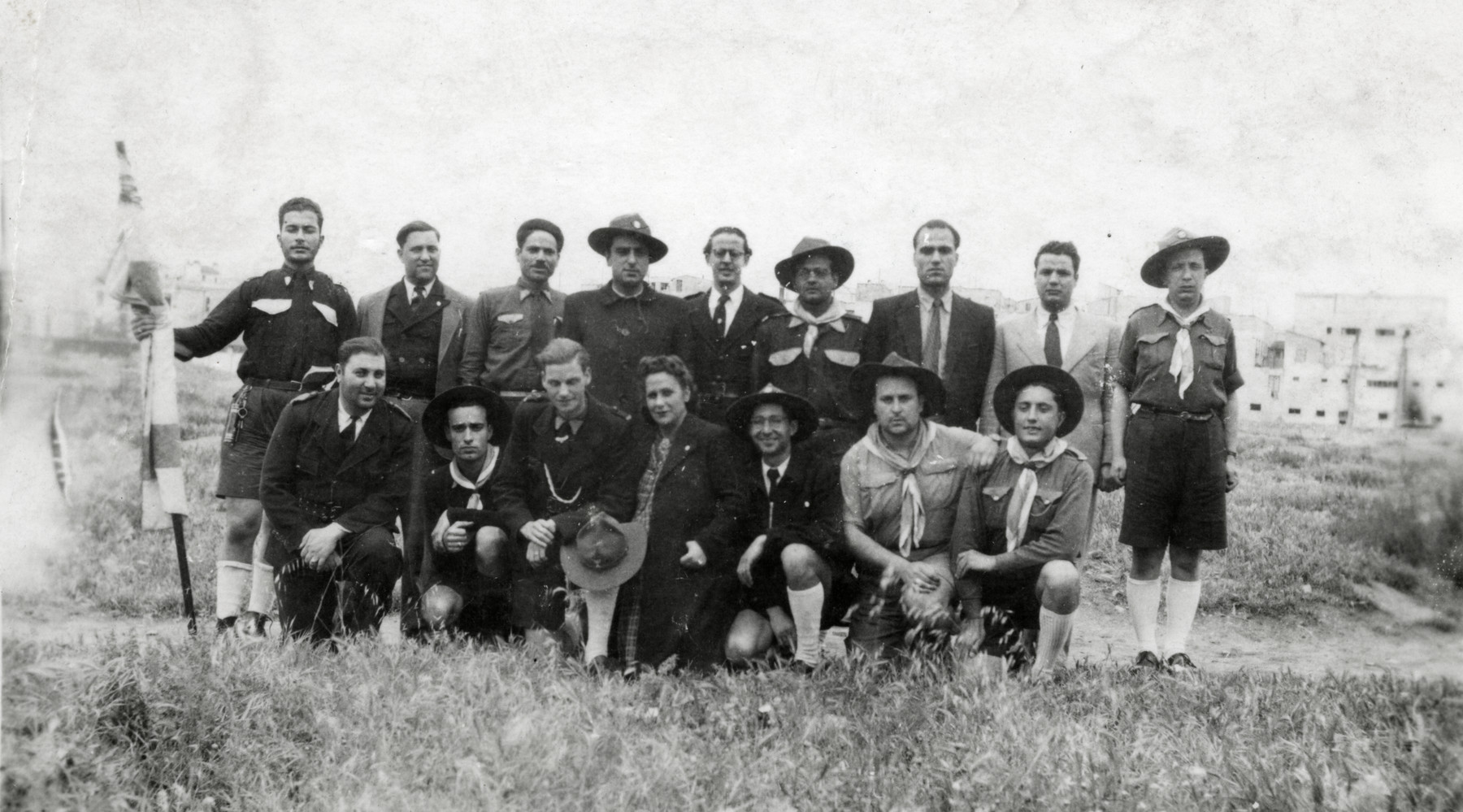 Staff members of the Betar Zionist scout movement  in postwar Tunisia.  Raoul Tayar is pictured on the far right.