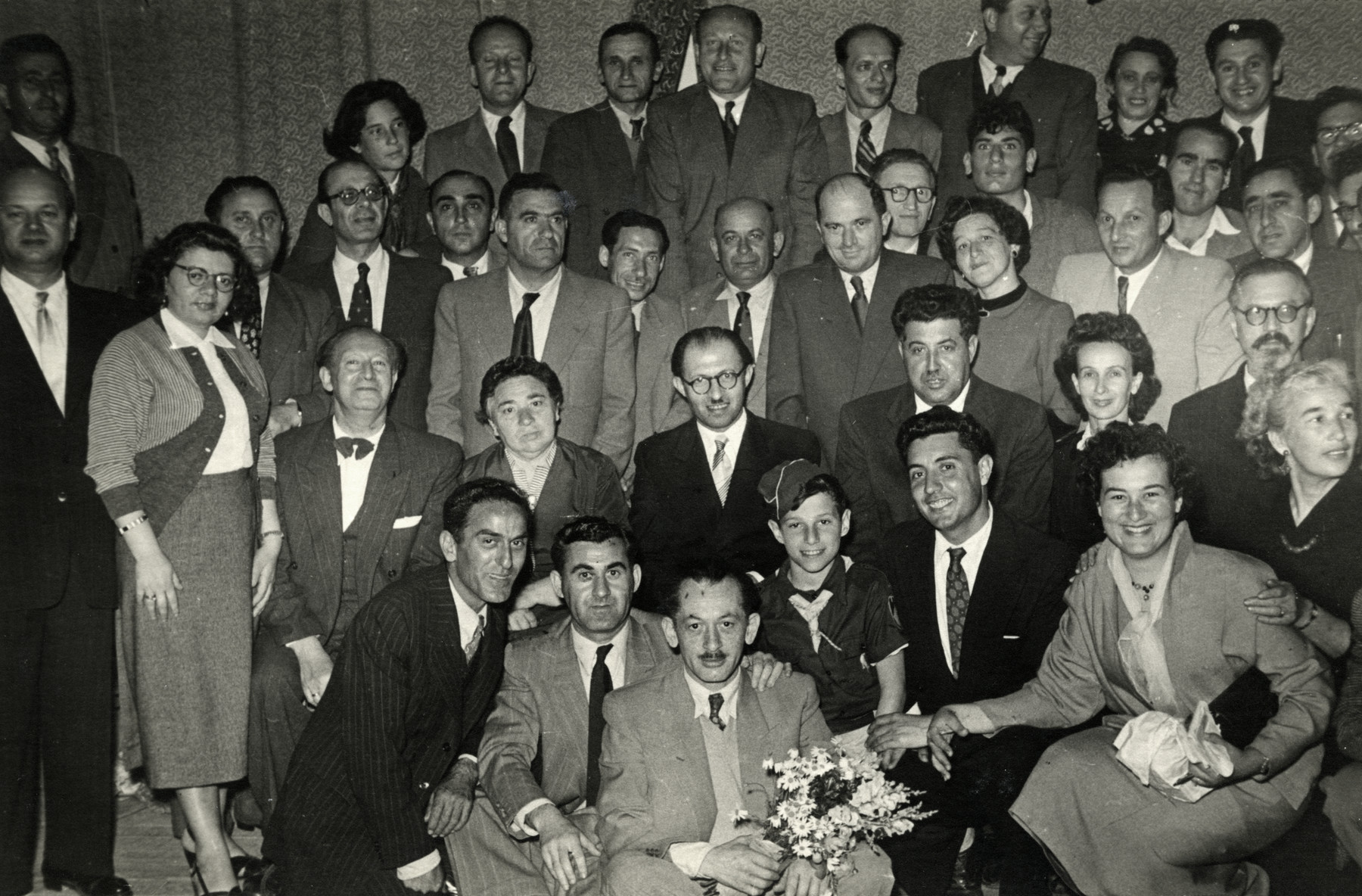 Meeting of members of the Herut  Party.  Menachem Begin is pictured in the center.  Raoul Tayar is in the second row, second from the right (diagonally below Begin.)
