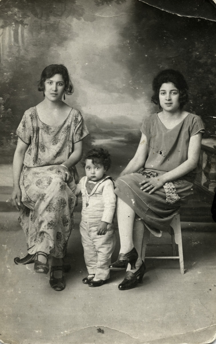 Studio portrait of Raoul Tayar with his mother Simcha and Aunt Justine.