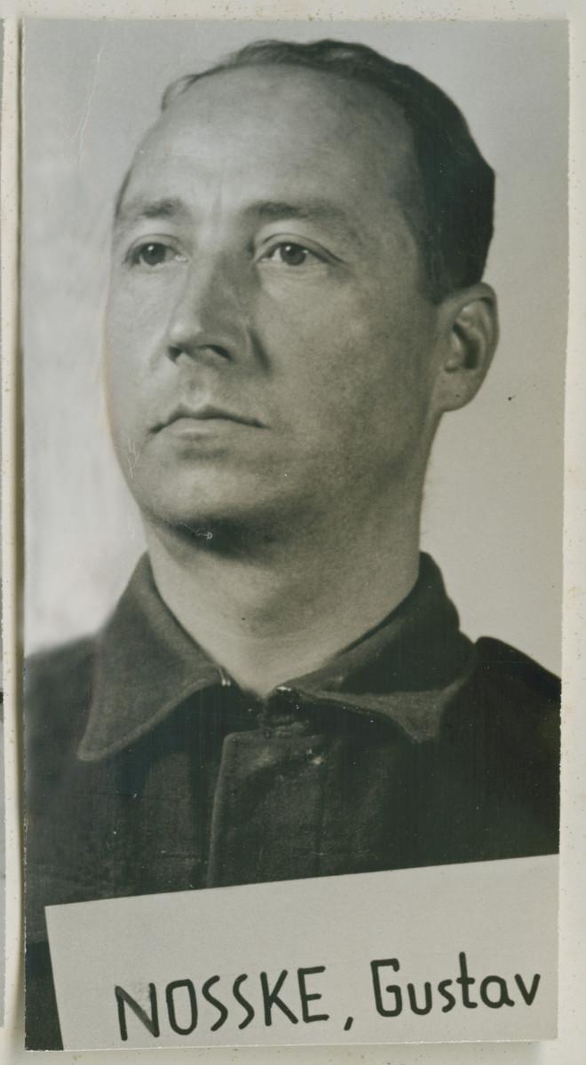 Mug-shot of defendant Gustav Nosske at the Einsatzgruppen Trial.  Nosske was the Commanding Officer of Einsatzkommando 12 of Einsatzgruppe D.
