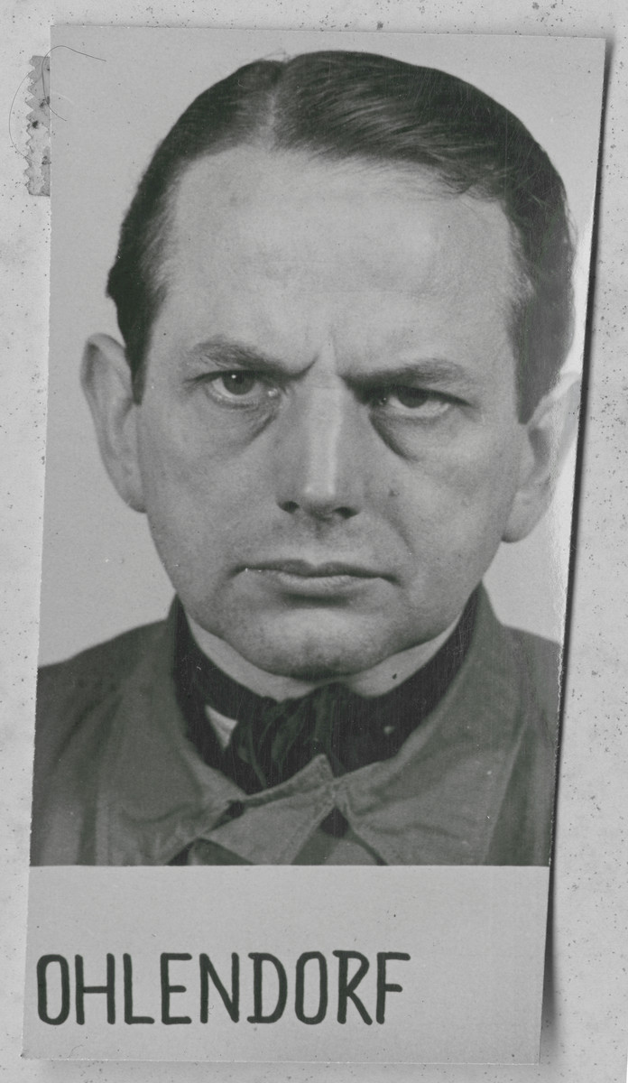 Mug shot of Otto Ohlendorf, an SS group leader, member of SD, and commanding officer in the Einsatzgruppen D.   Ohlendorf was sentenced to death by hanging. he was executed on June 7, 1951.